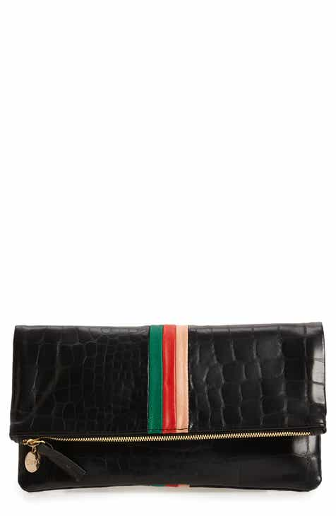 Clare V. Croc Embossed Leather Foldover Clutch