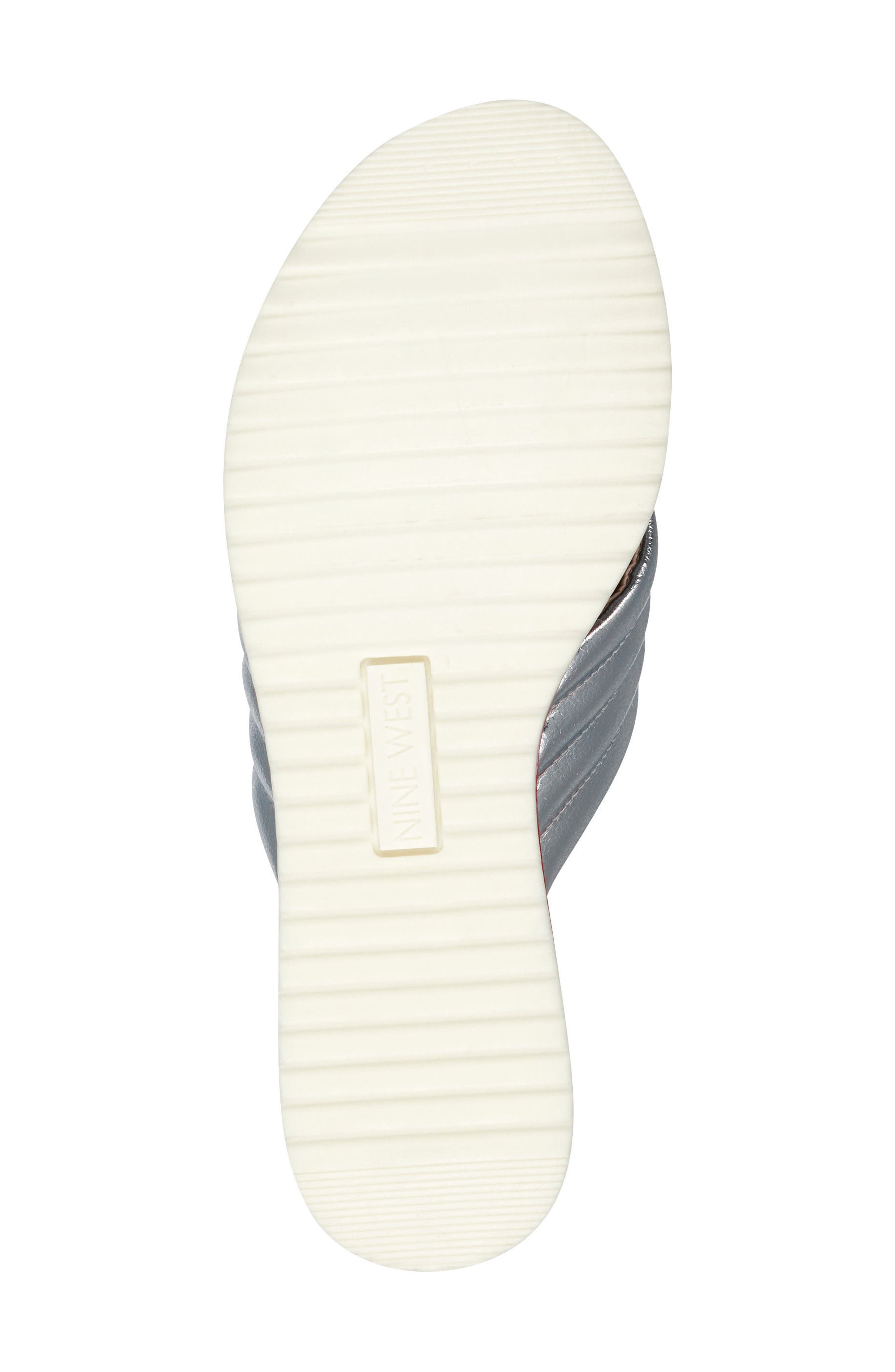 Zonita Platform Slide Sandal,                             Alternate thumbnail 6, color,                             Silver Faux Leather