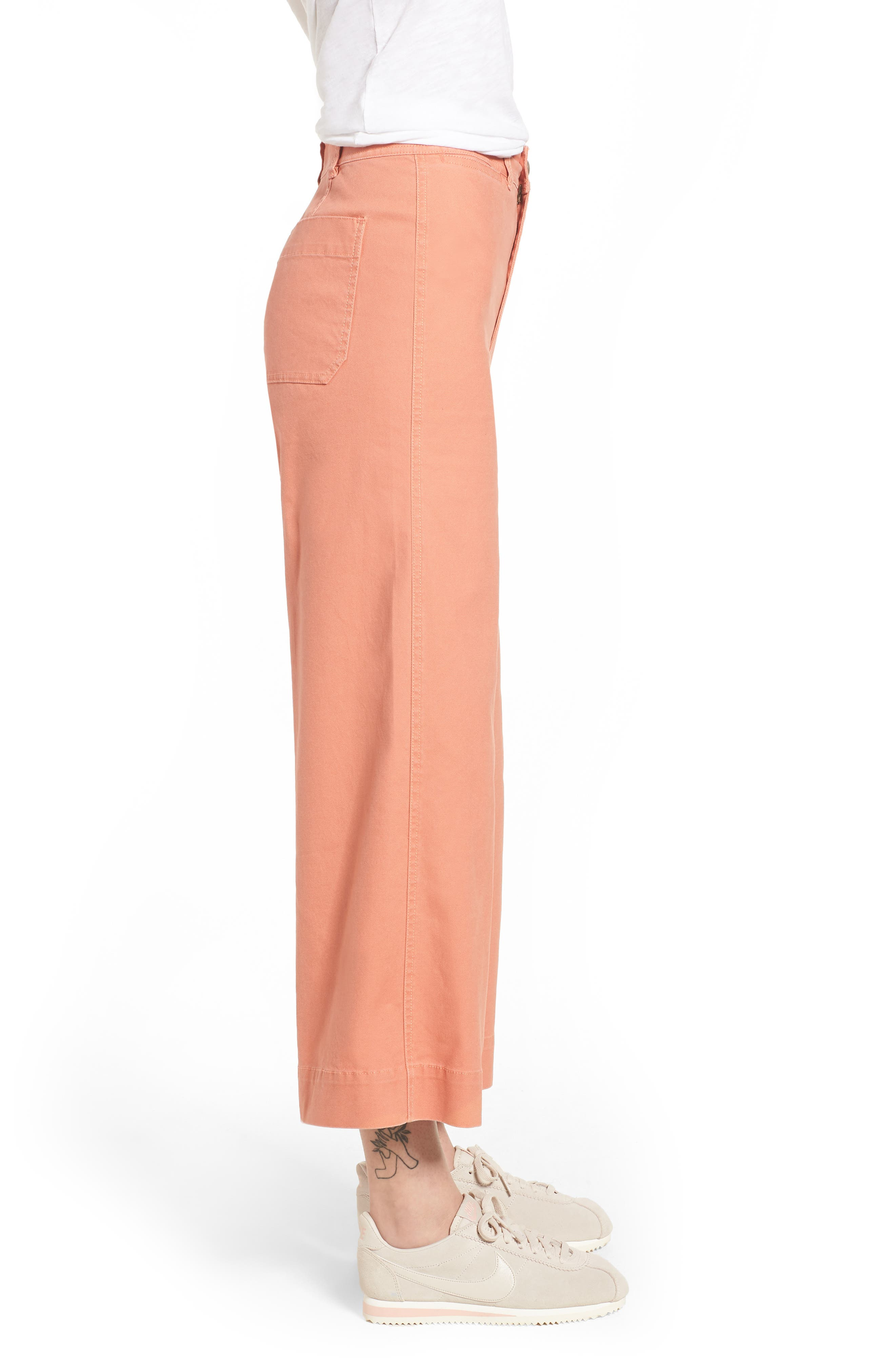 Emmett Crop Wide Leg Pants,                             Alternate thumbnail 3, color,                             Dried Coral