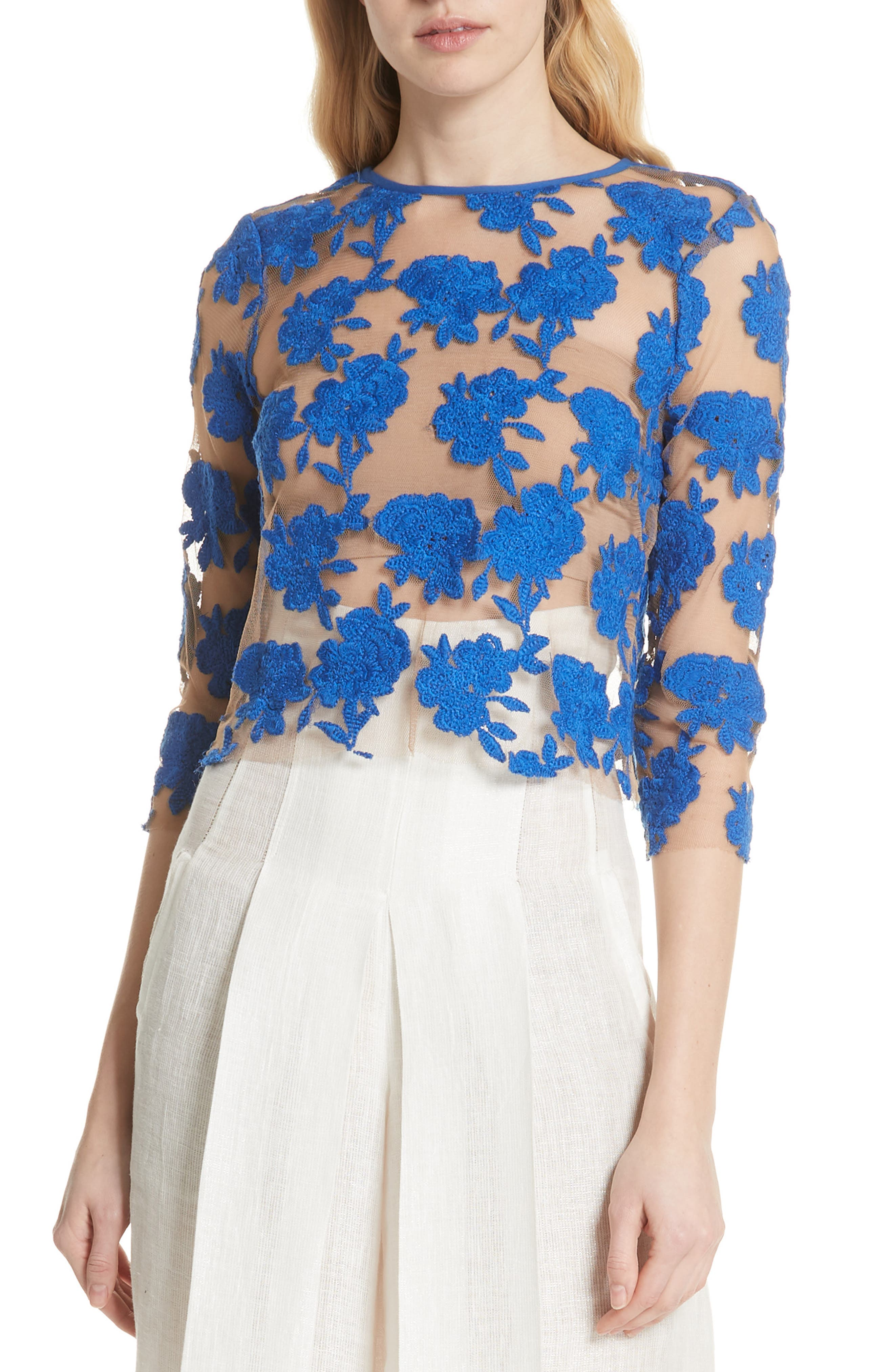 Sheer Embroidered Floral Top,                             Main thumbnail 1, color,                             Blue Pigment