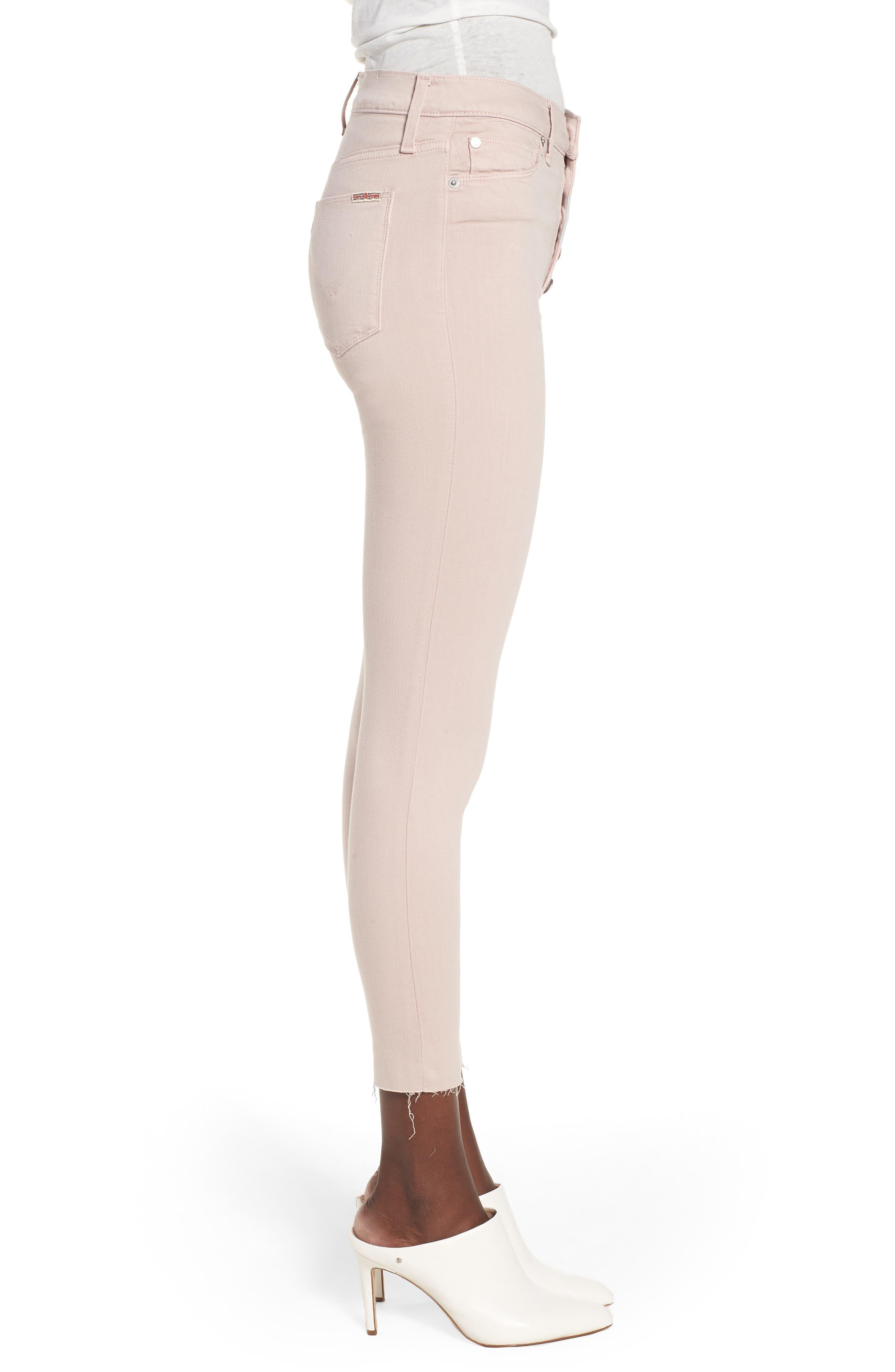 Barbara High Waist Raw Hem Ankle Skinny Jeans,                             Alternate thumbnail 3, color,                             Blushing