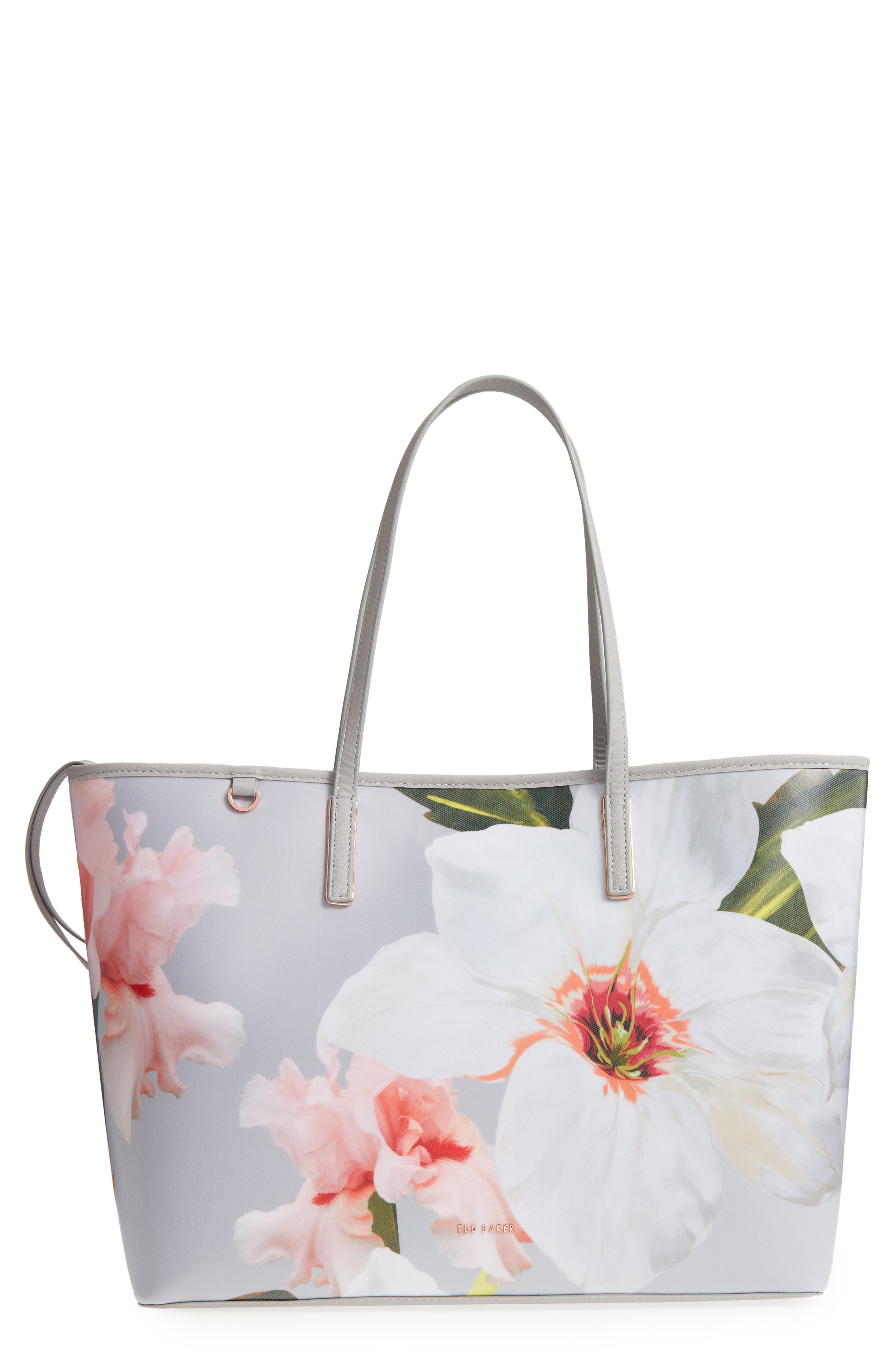 Cecie Chatsworth Bloom Canvas Tote,                             Main thumbnail 1, color,                             Mid Grey