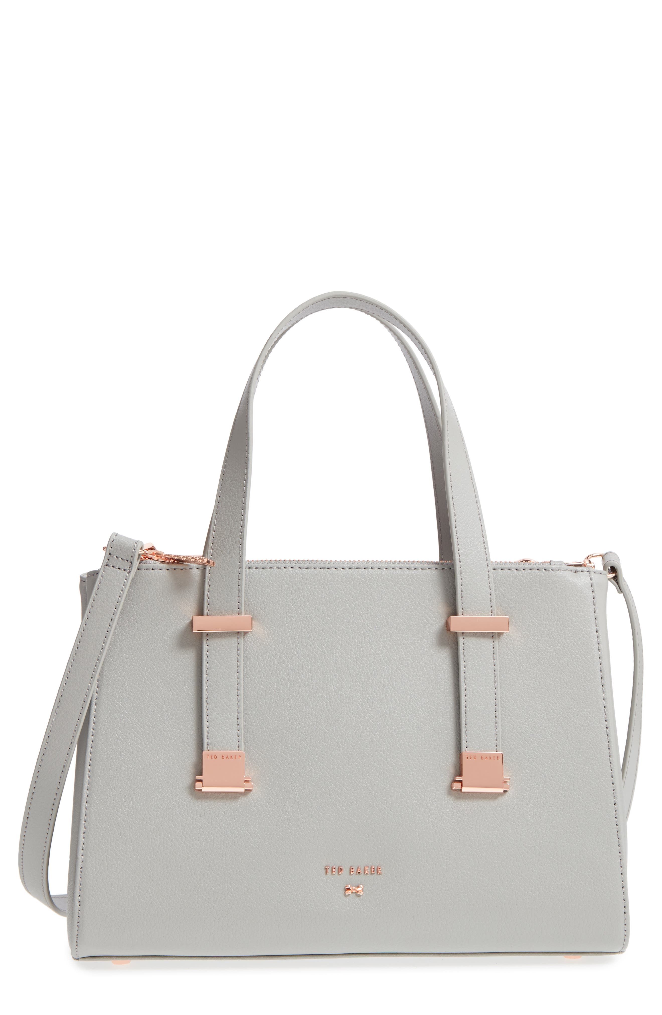 Audreyy Small Adjustable Handle Leather Shopper,                             Main thumbnail 1, color,                             Mid Grey