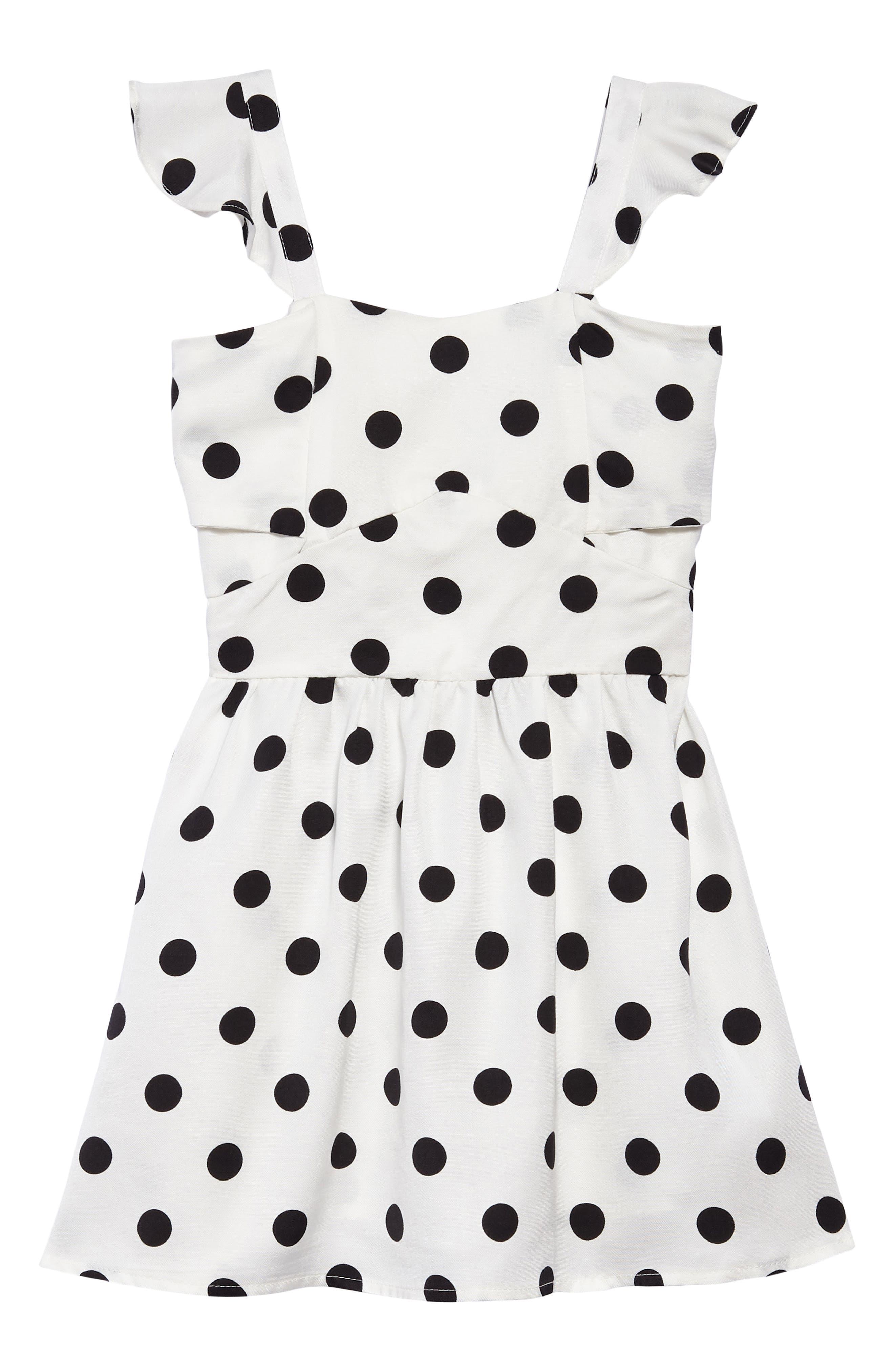 Polka Dot Dress,                             Main thumbnail 1, color,                             White Spot