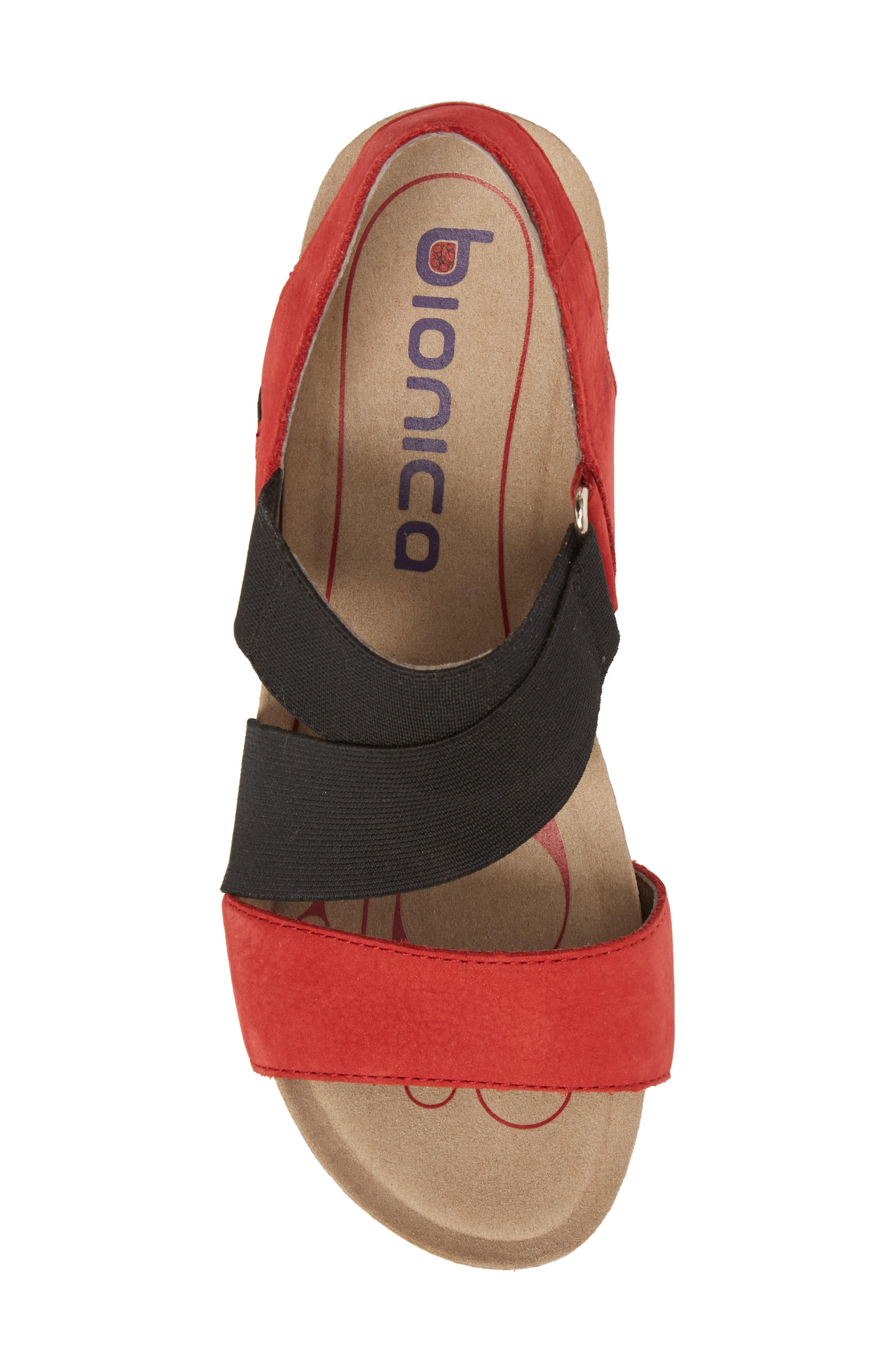 Paisley Wedge Sandal,                             Alternate thumbnail 5, color,                             Coral Leather