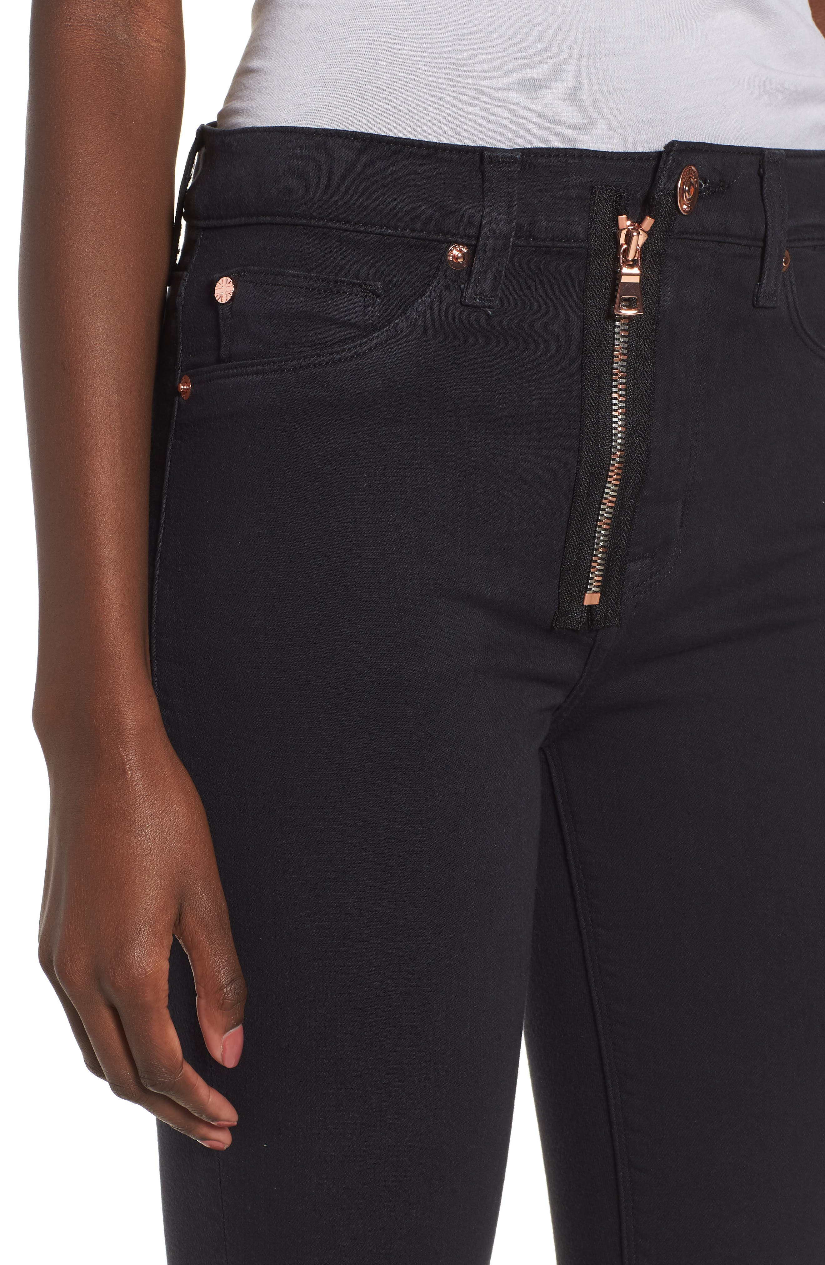 Barbara Exposed Zip High Waist Ankle Skinny Jeans,                             Alternate thumbnail 4, color,                             Maniac