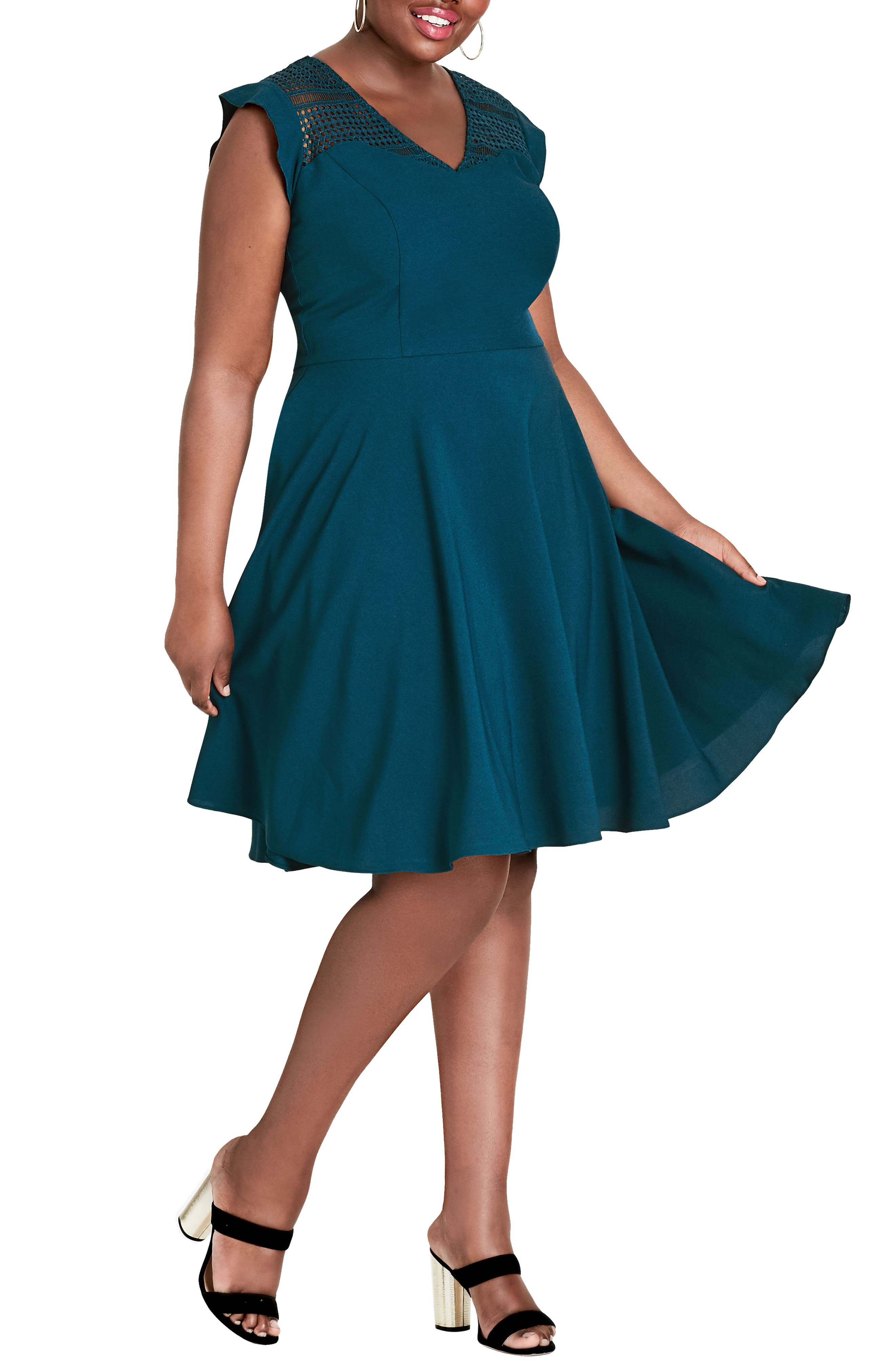 First Place Crochet Yoke Fit & Flare Dress,                         Main,                         color, Teal