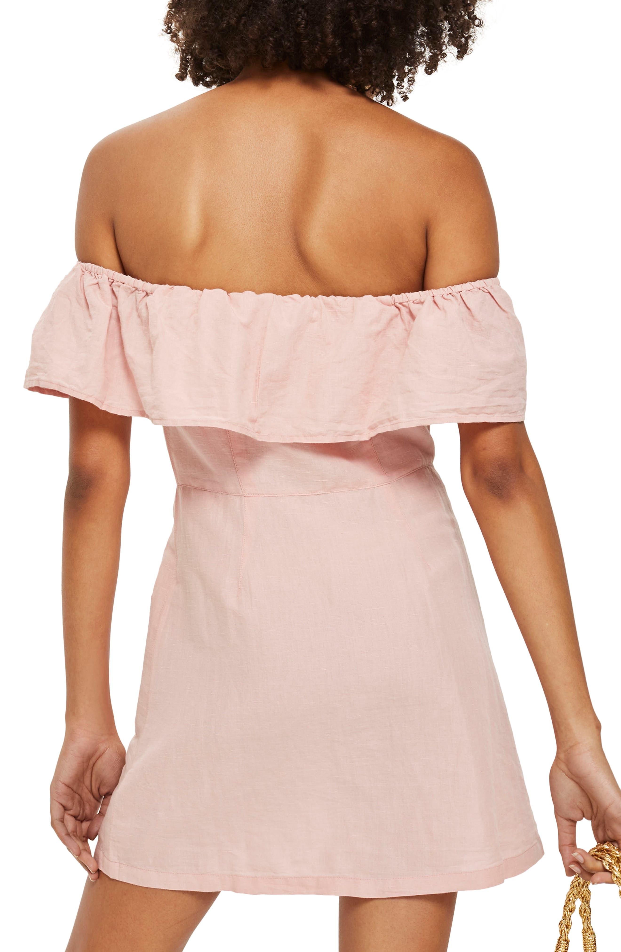 Off the Shoulder Button Front Minidress,                             Alternate thumbnail 2, color,                             Pink
