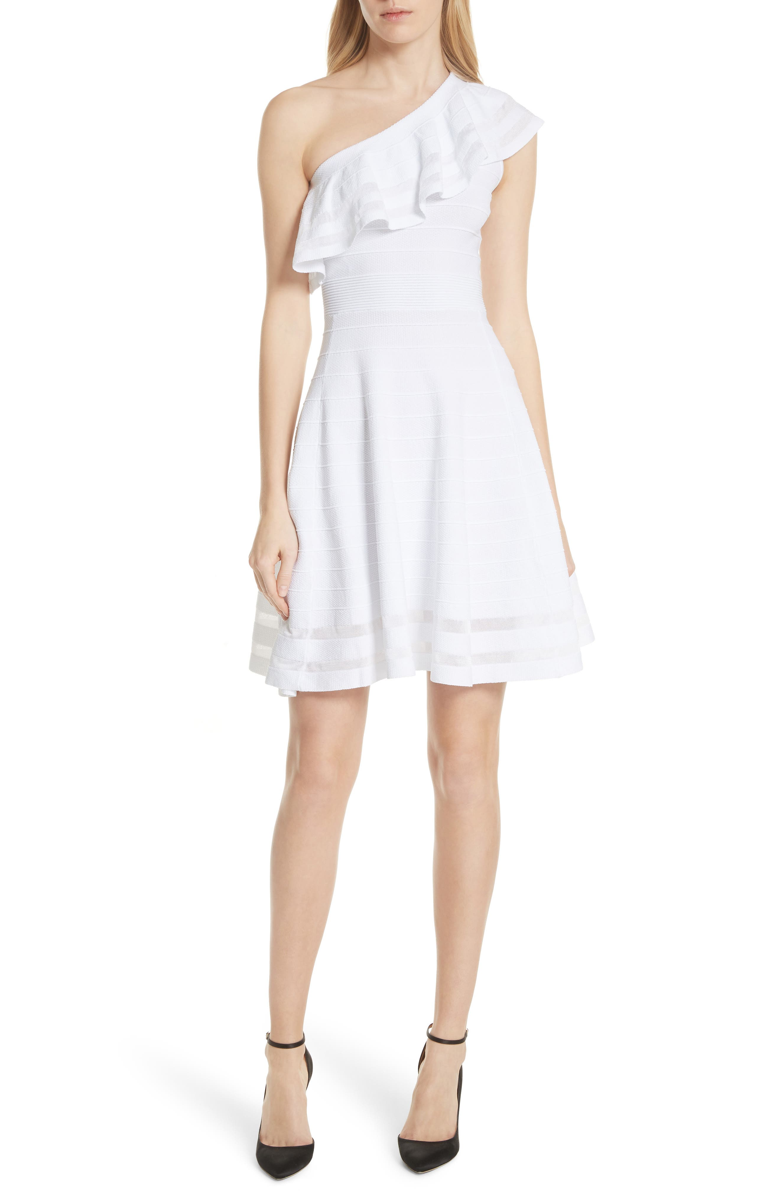 Streena Knit Skater Dress,                         Main,                         color, White