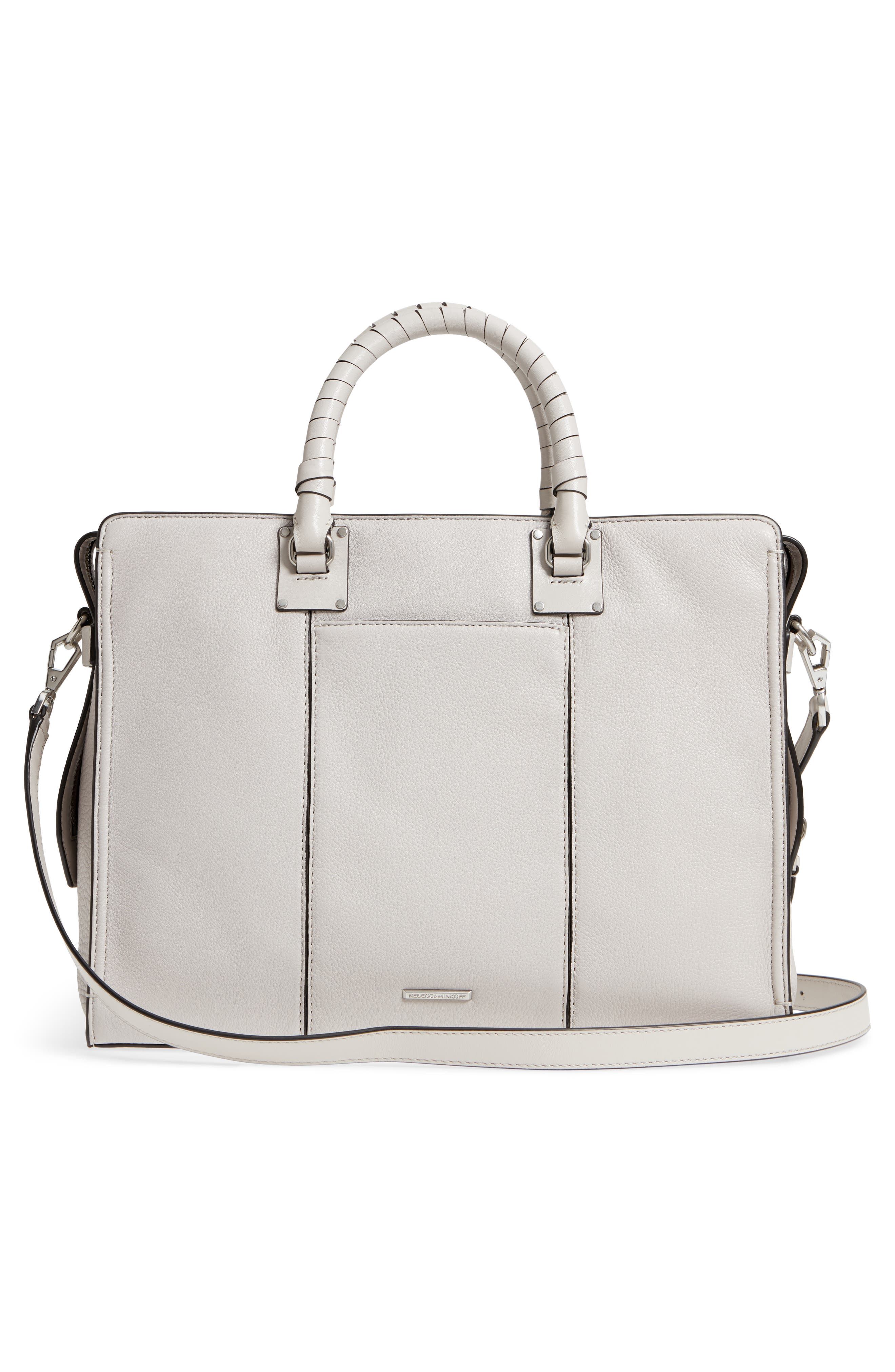 Large Bree Leather Satchel,                             Alternate thumbnail 3, color,                             Putty