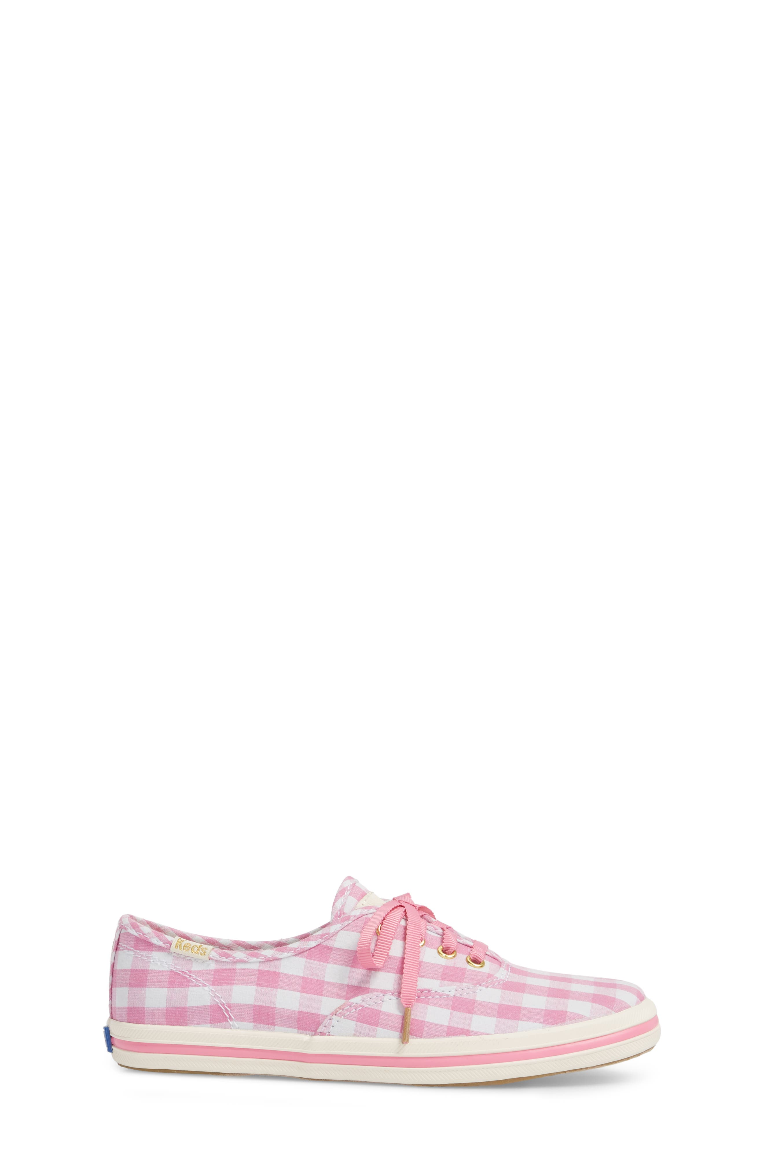x kate spade new york champion gingham lace-up shoe,                             Alternate thumbnail 3, color,                             Pink Gingham