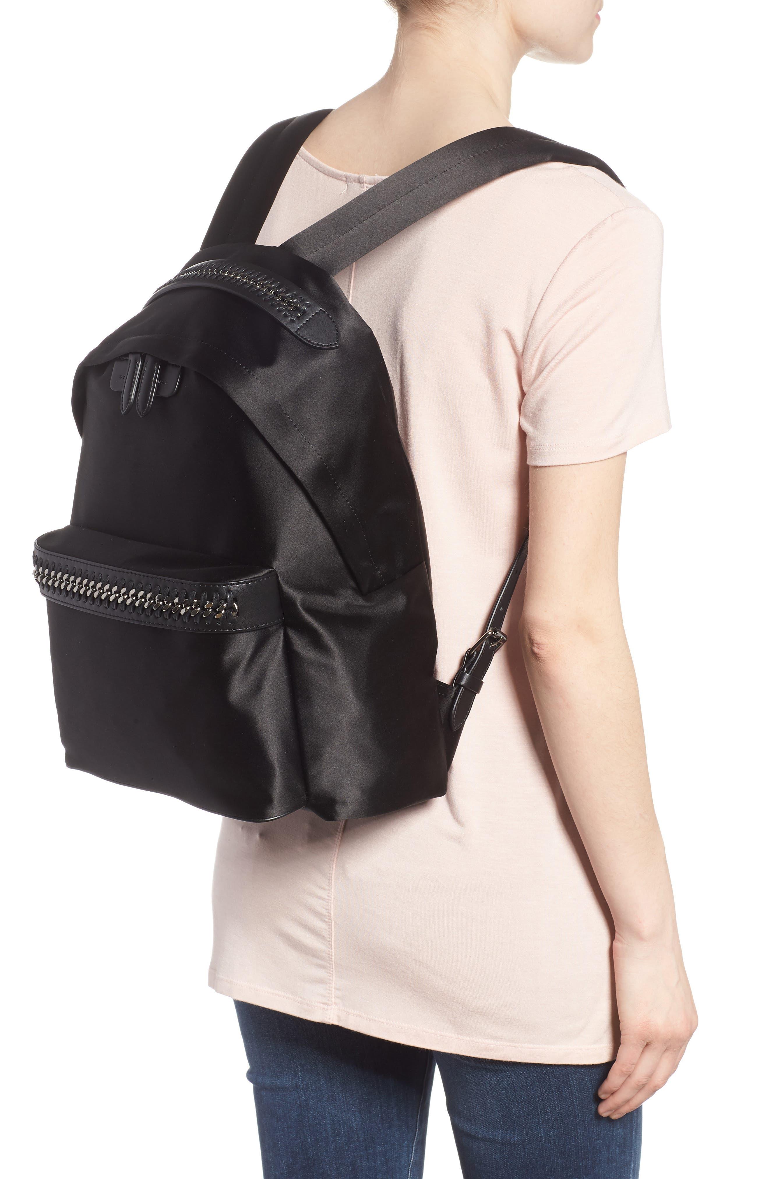 Logo Embossed Satin Backpack,                             Alternate thumbnail 2, color,                             Black