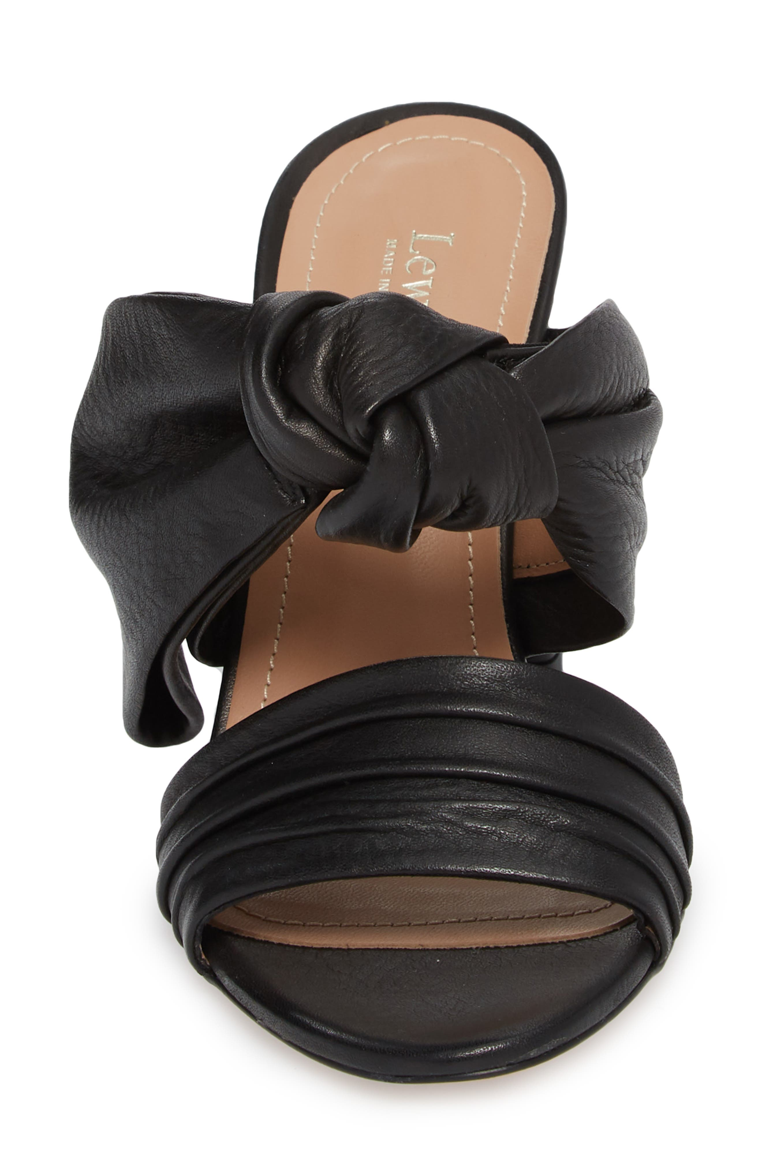 Rosa Knotted Bow Mule,                             Alternate thumbnail 4, color,                             Black Leather
