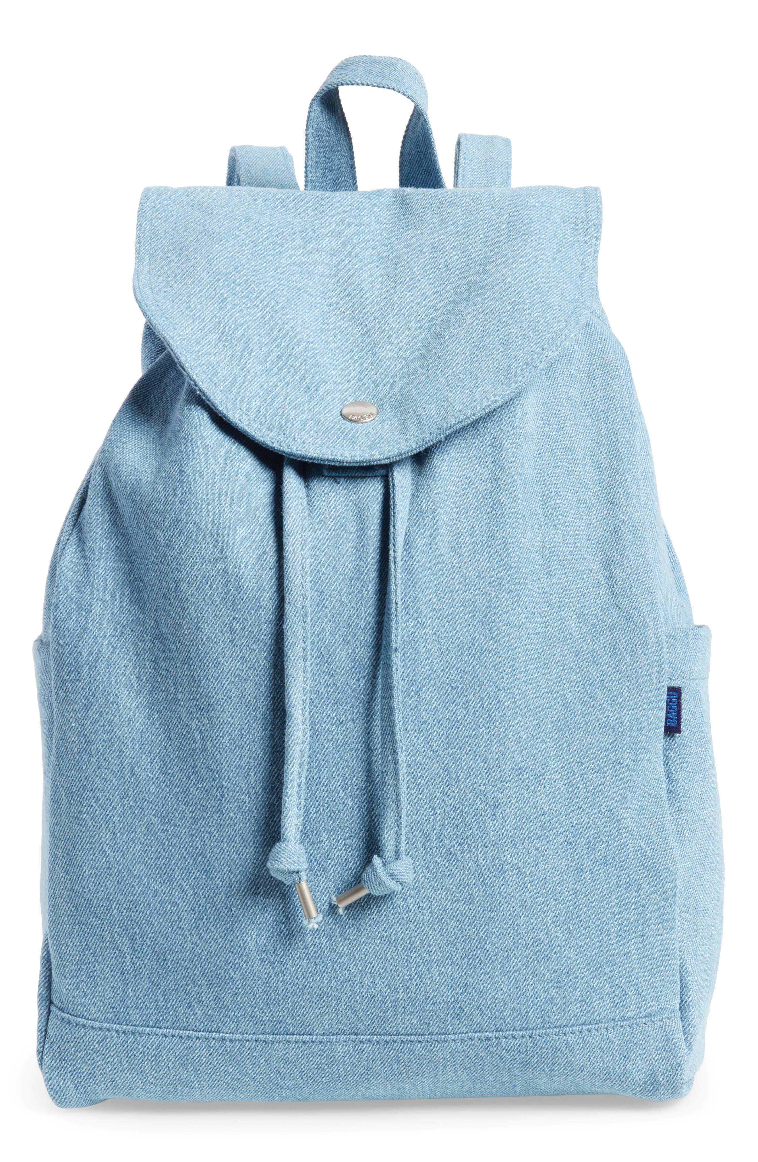 Drawstring Canvas Backpack,                         Main,                         color, Washed Denim