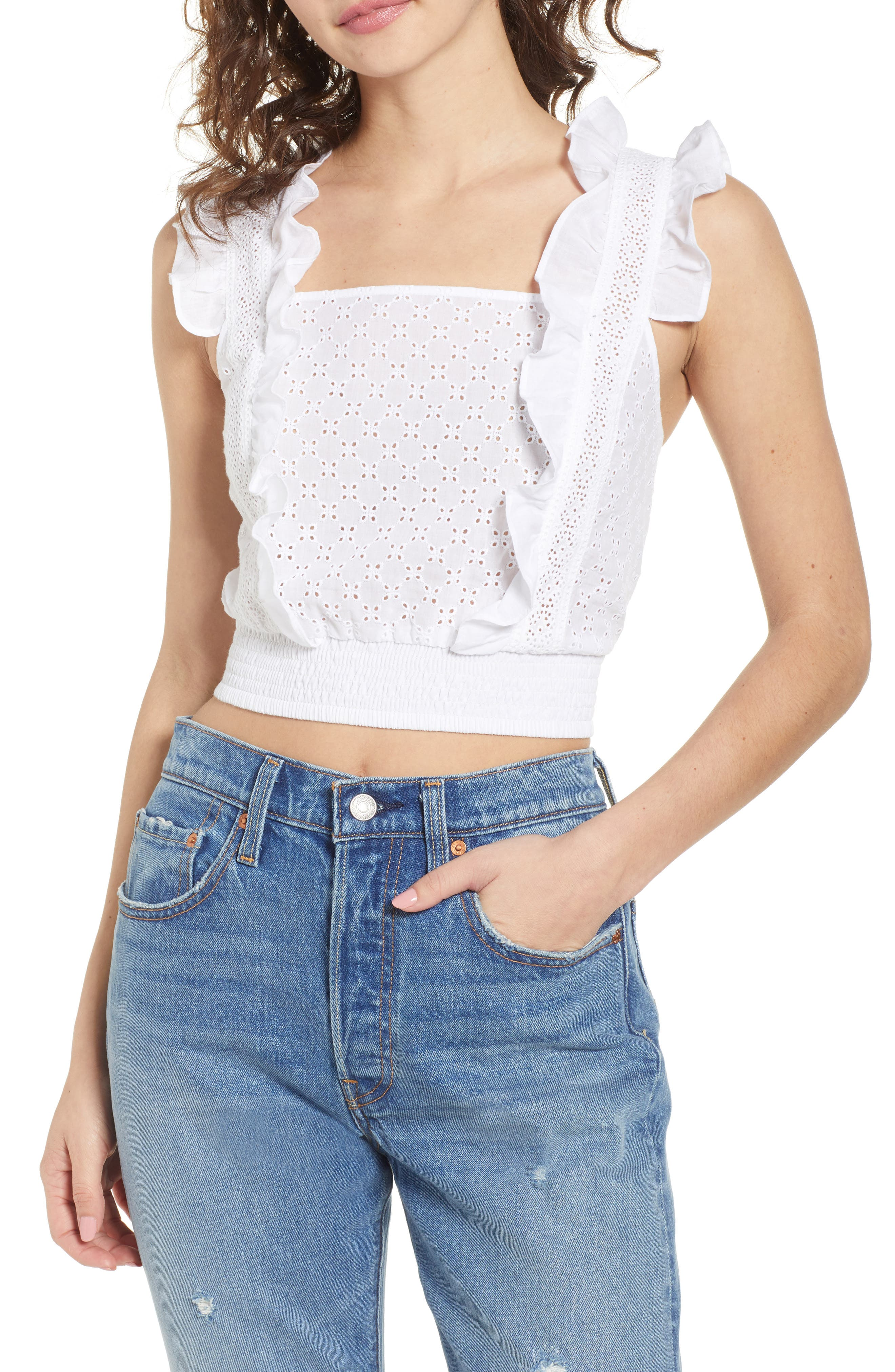 Ruffle Eyelet Crop Top,                         Main,                         color, White