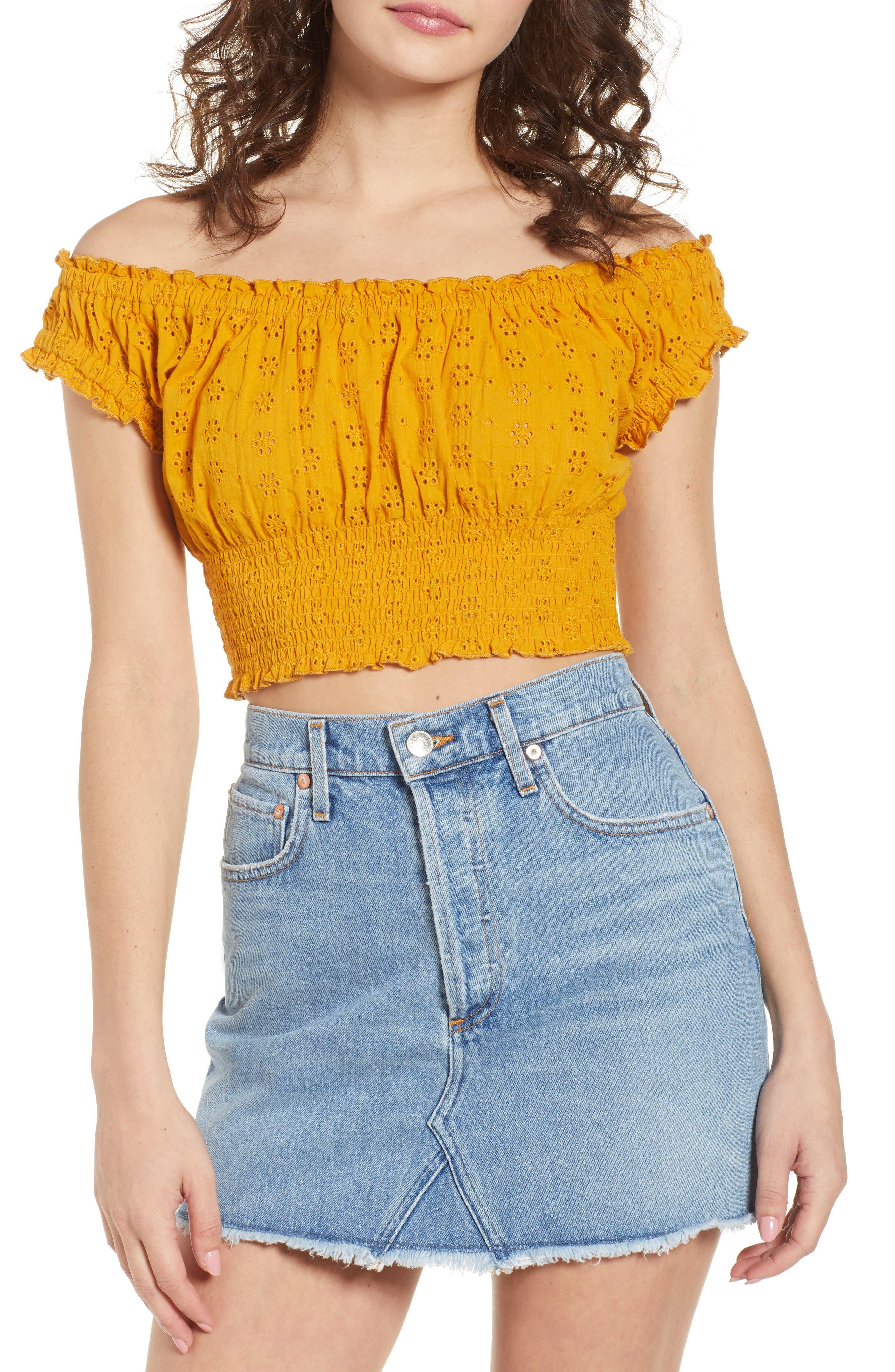 Off the Shoulder Eyelet Top,                             Main thumbnail 1, color,                             Marigold