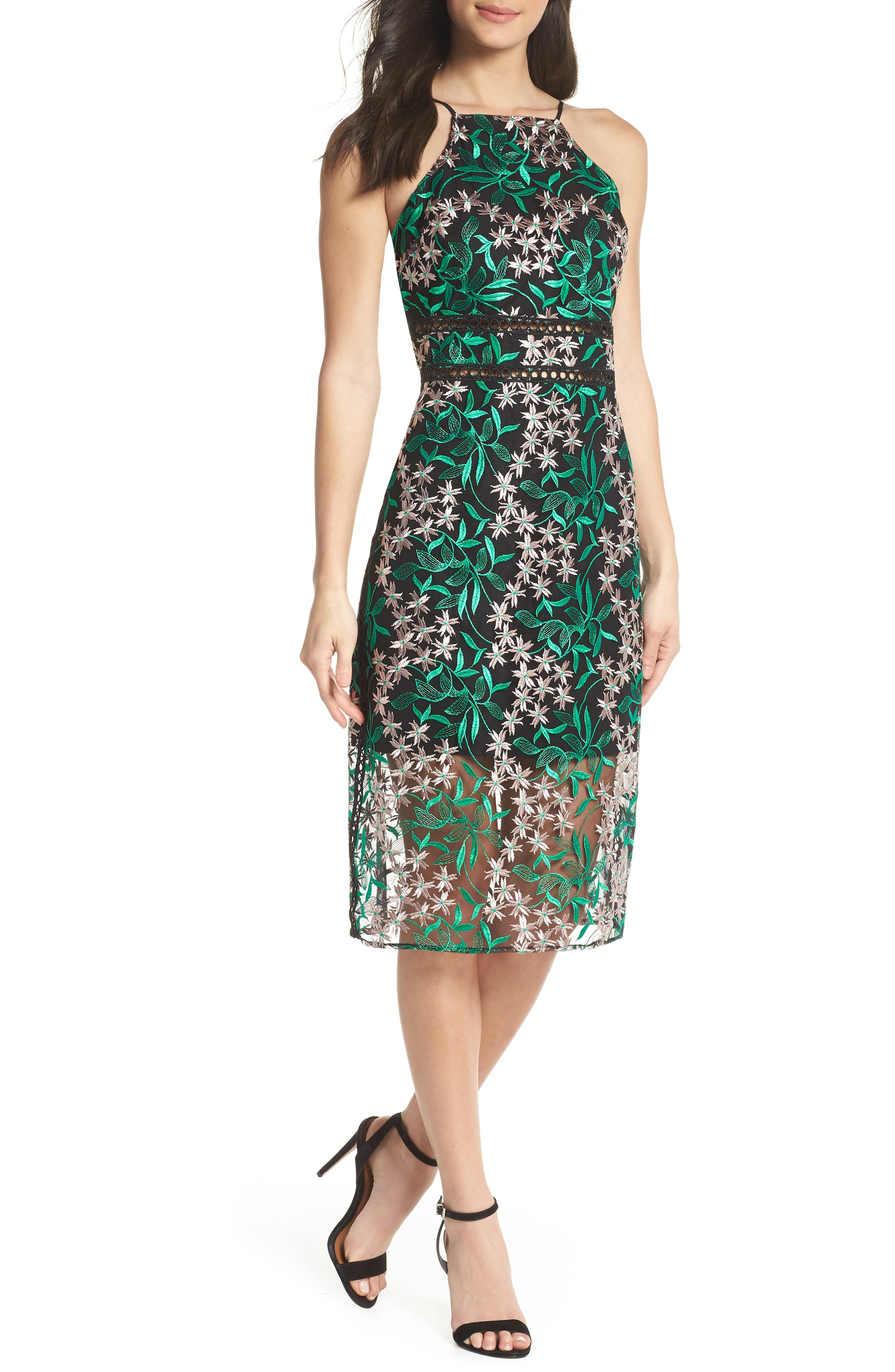 Embroidered Lace Pencil Dress,                             Main thumbnail 1, color,                             Pink/ Green