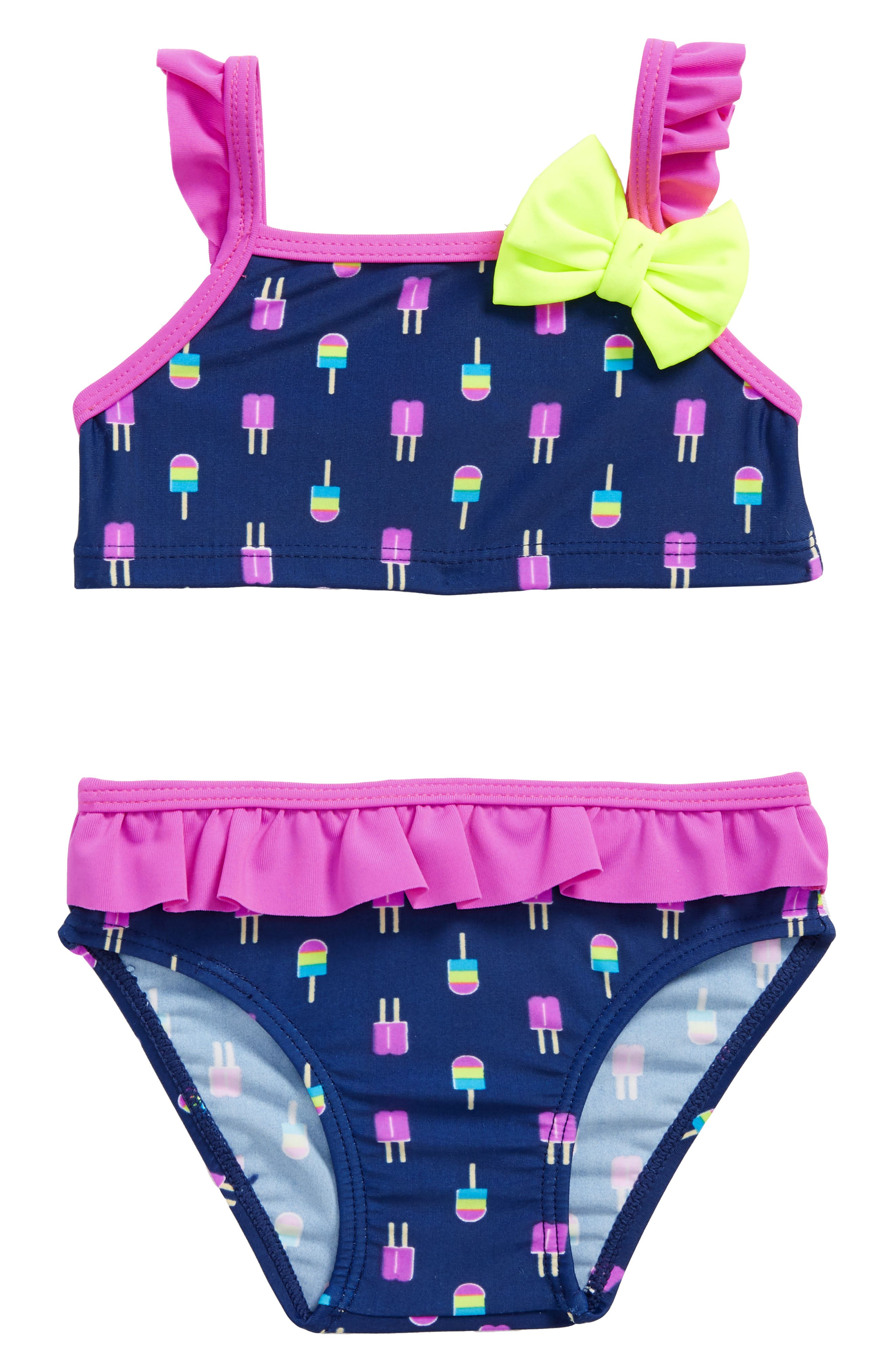 Alternate Image 1 Selected - Sol Swim Neon Popsicles Two-Piece Swimsuit (Baby Girls)