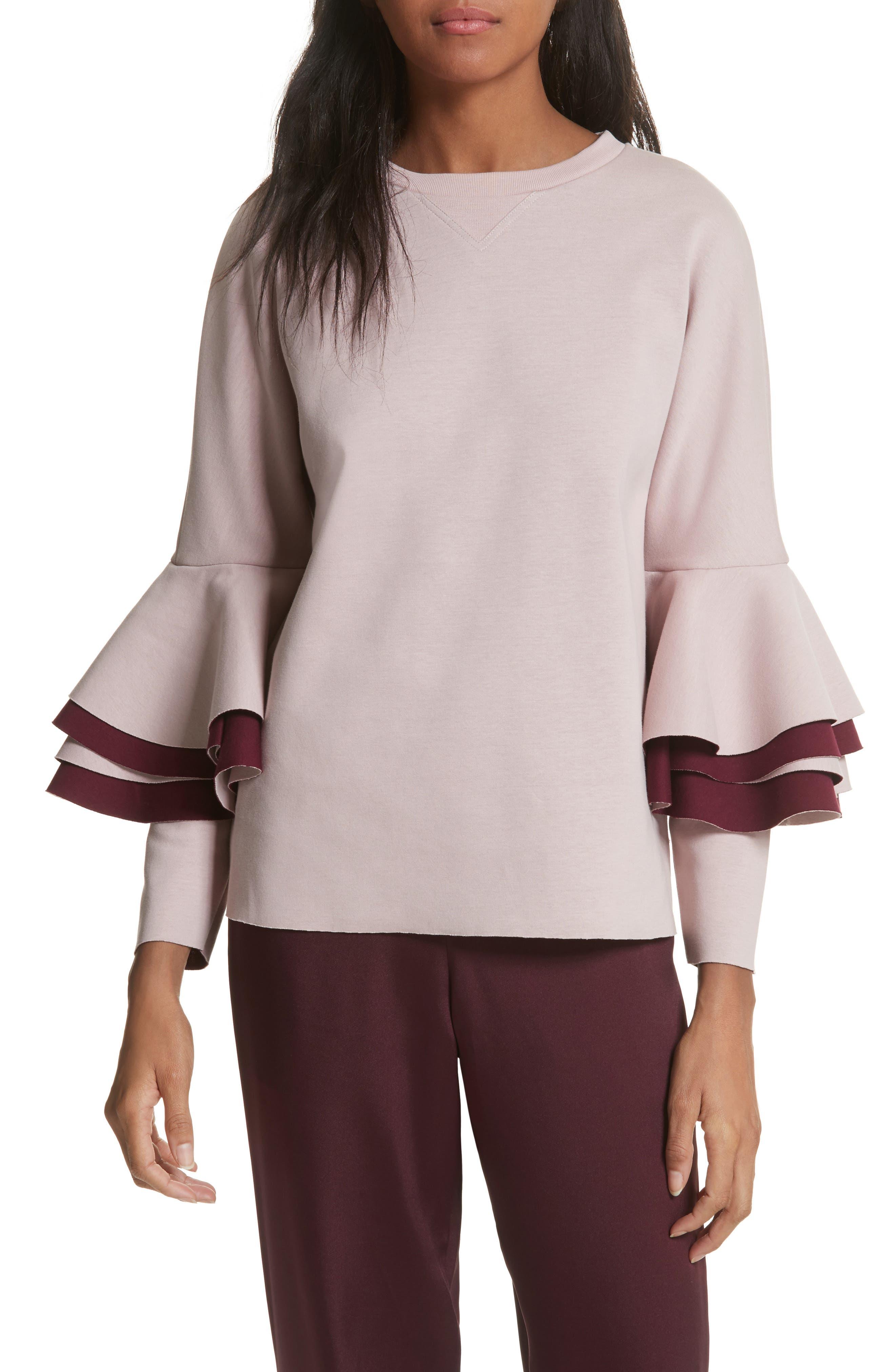 Frill Sleeve Sweatshirt,                         Main,                         color, Dusky Pink