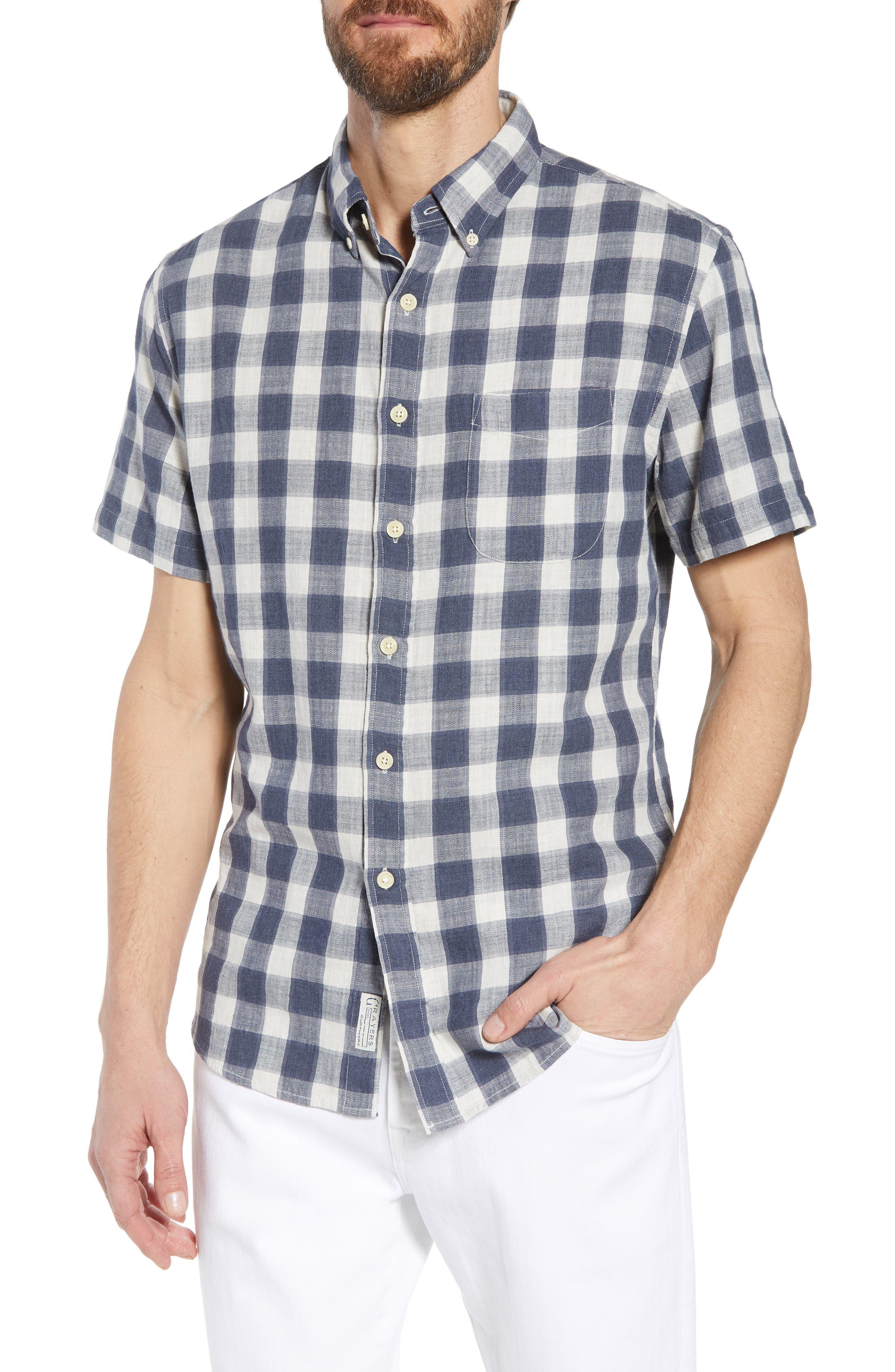 Gingham Twill Sport Shirt,                         Main,                         color, Grey Cream