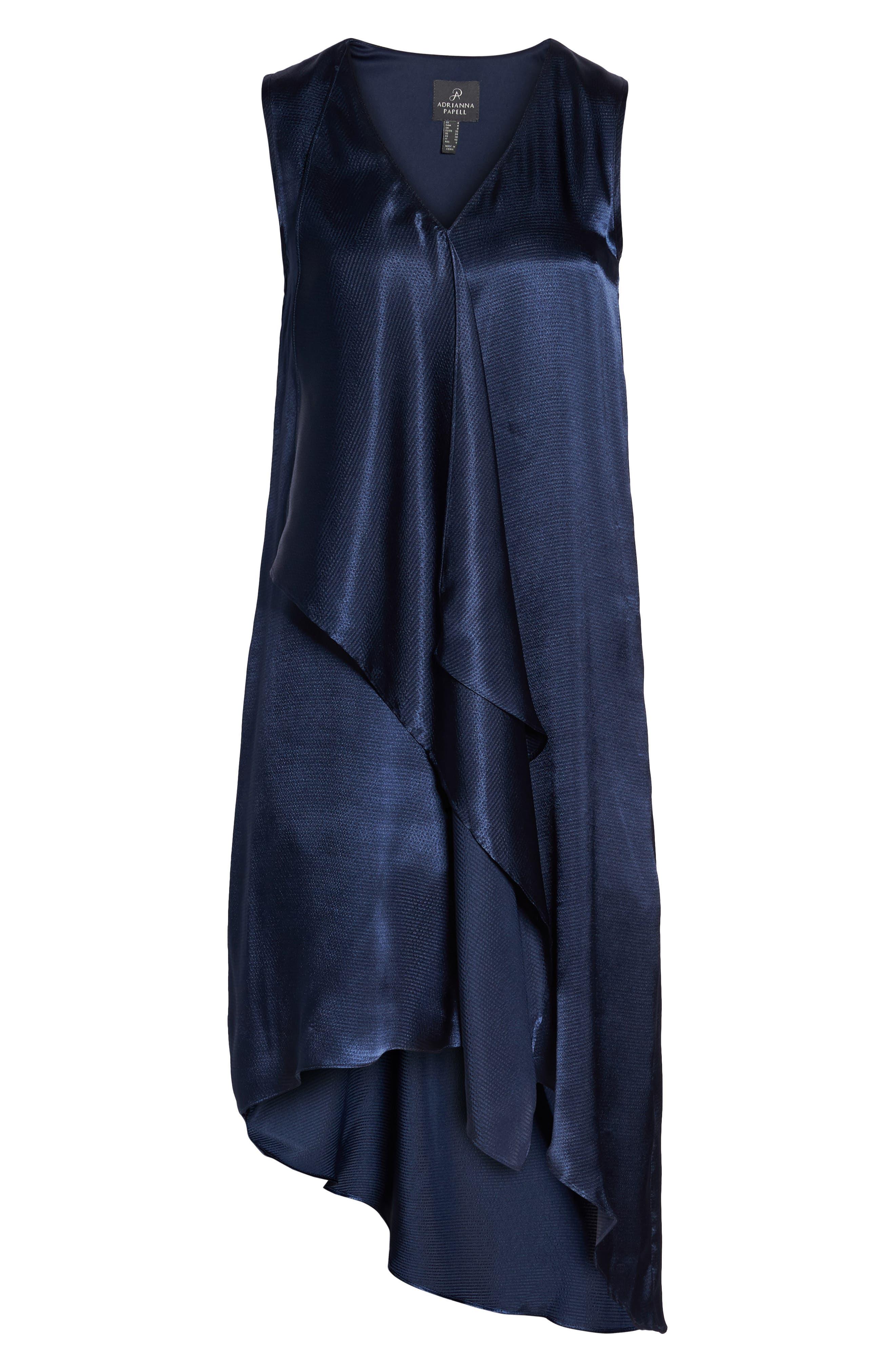 Asymmetrical Sleeveless Trapeze Dress,                             Alternate thumbnail 7, color,                             Blue Moon