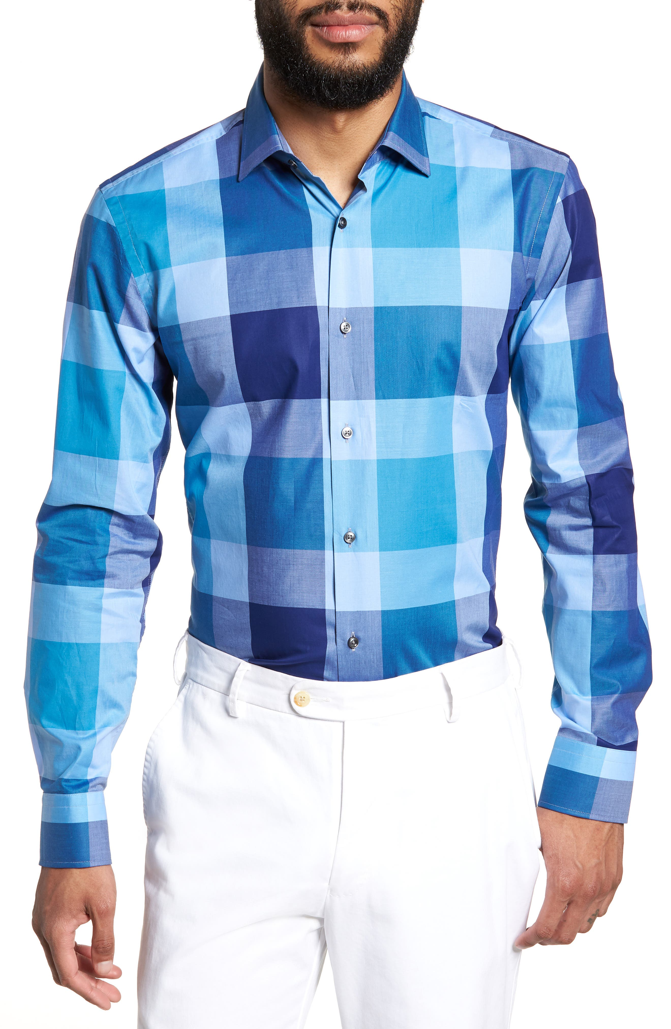 Jenno Slim Fit Check Dress Shirt,                         Main,                         color, Blue