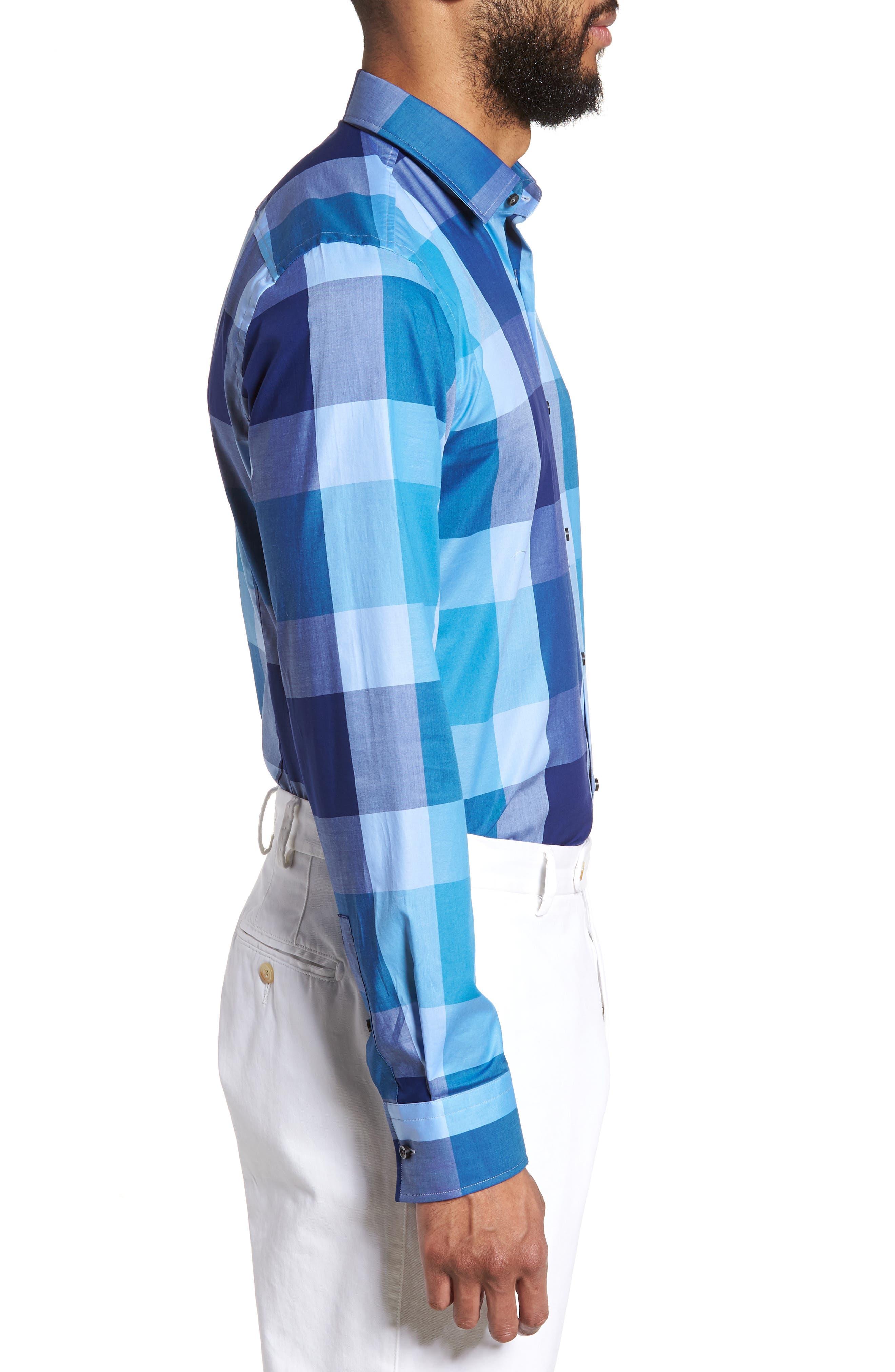 Jenno Slim Fit Check Dress Shirt,                             Alternate thumbnail 4, color,                             Blue