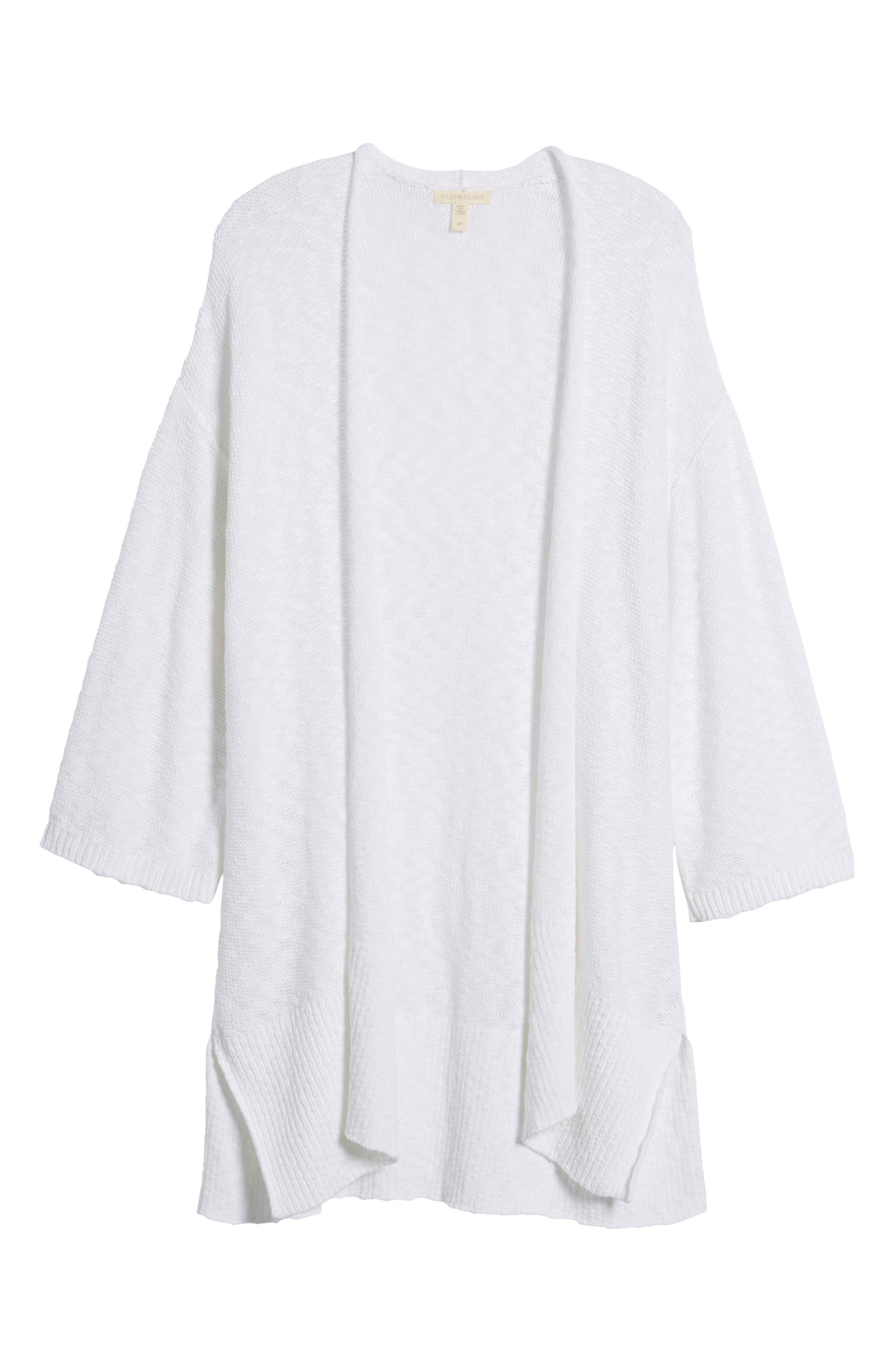 Long Organic Cotton Cardigan,                             Alternate thumbnail 7, color,                             White