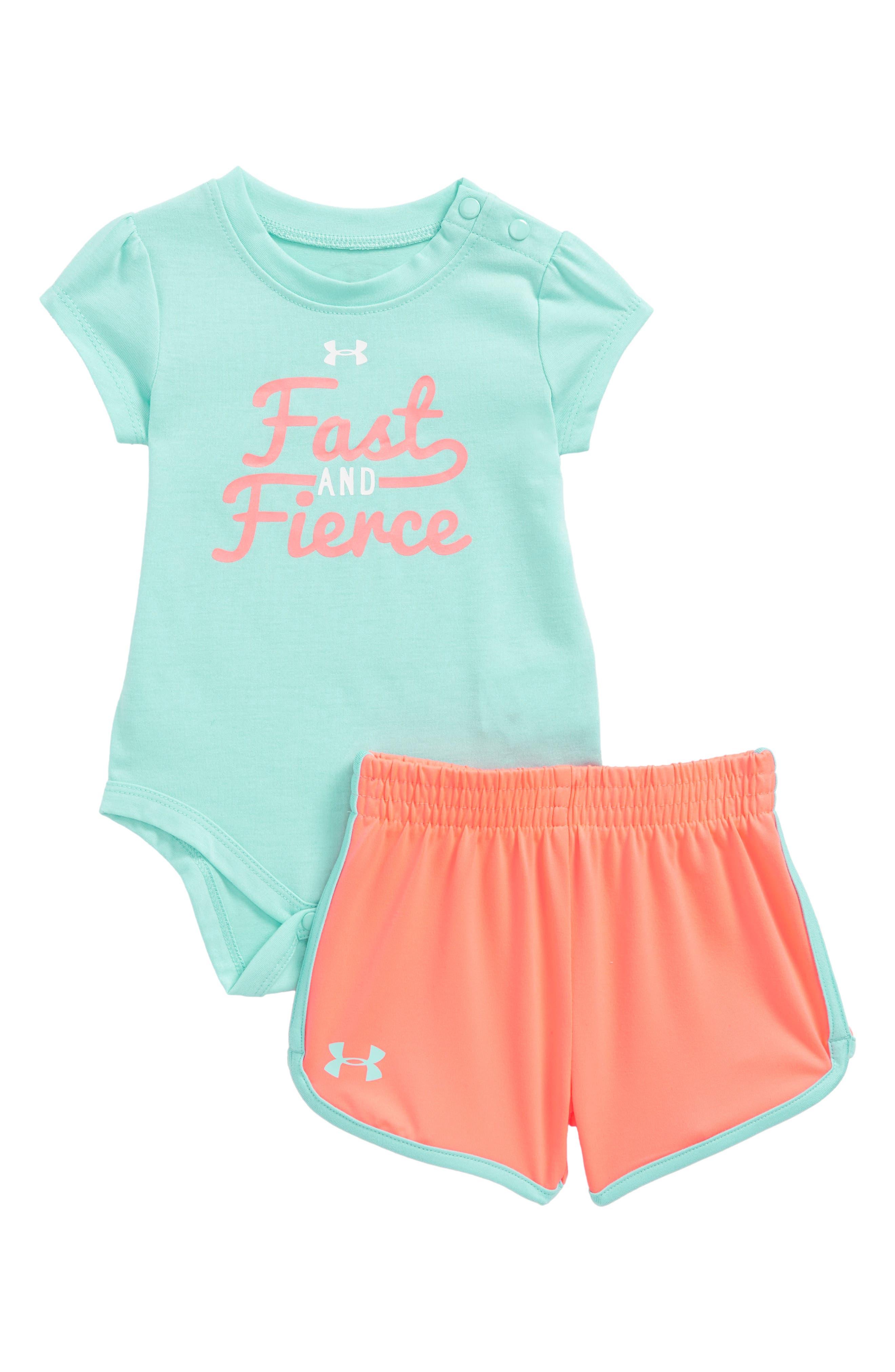 Fast & Fierce Bodysuit & Shorts Set,                         Main,                         color, Tropical Tide