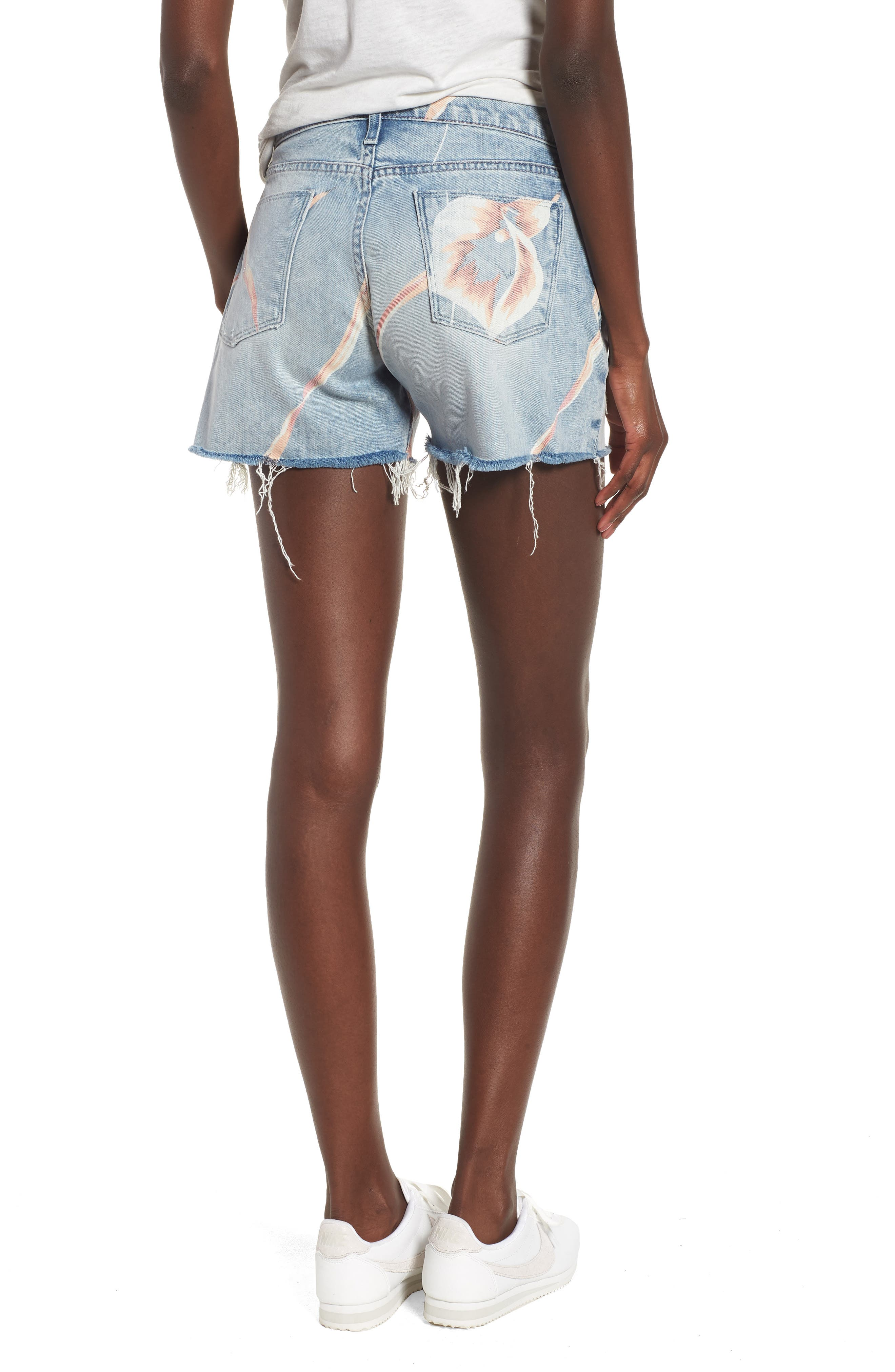 Valeri Painted Denim Shorts,                             Alternate thumbnail 2, color,                             In Bloom