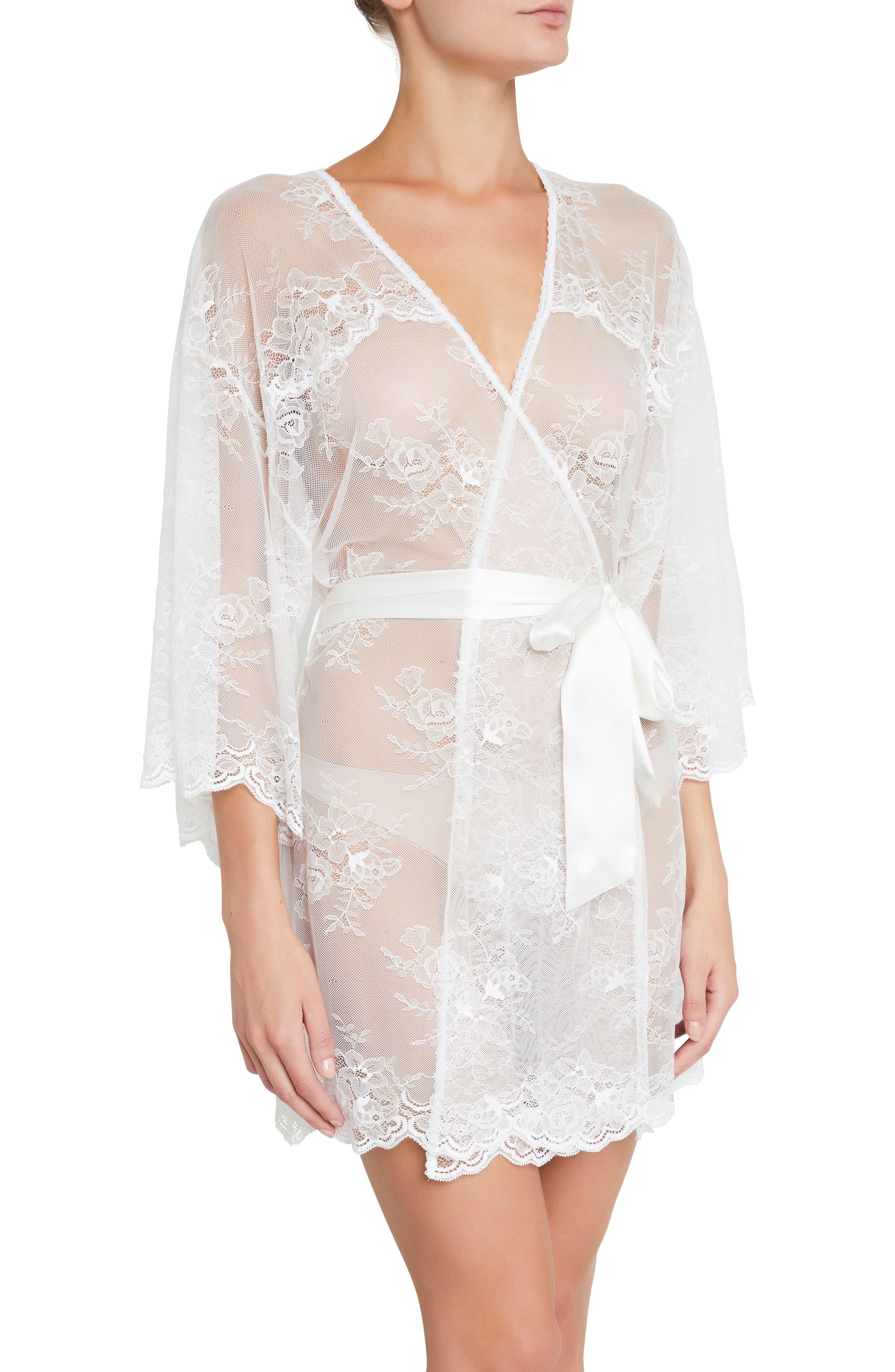 Aurora Short Lace Robe,                             Main thumbnail 1, color,                             Ivory