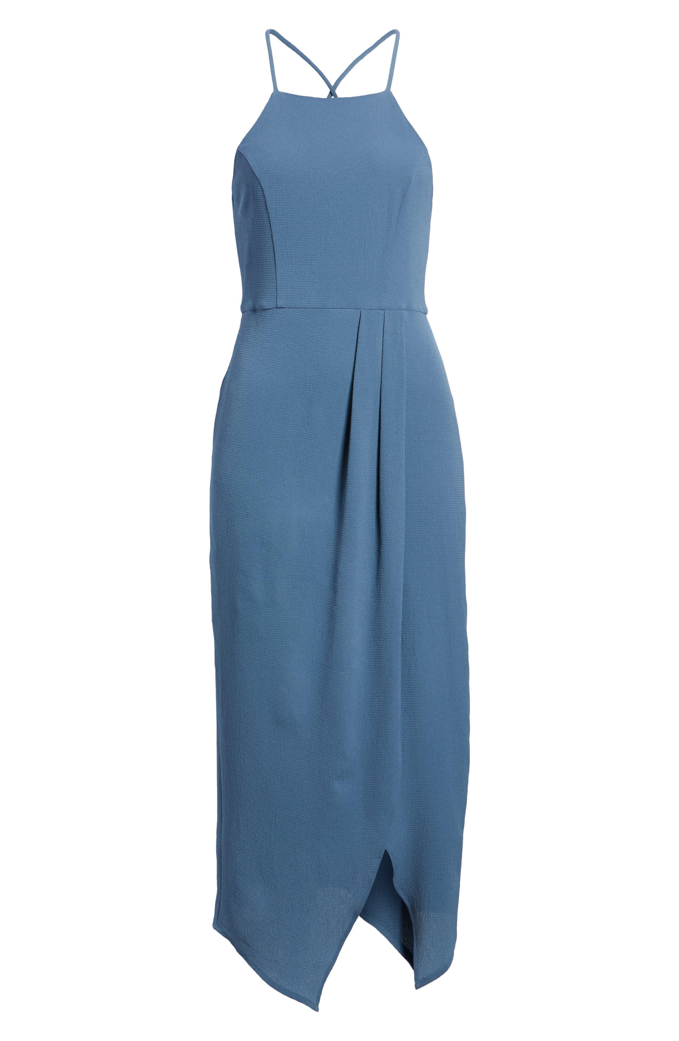 Wrap Midi Dress,                             Alternate thumbnail 6, color,                             Dusty Teal