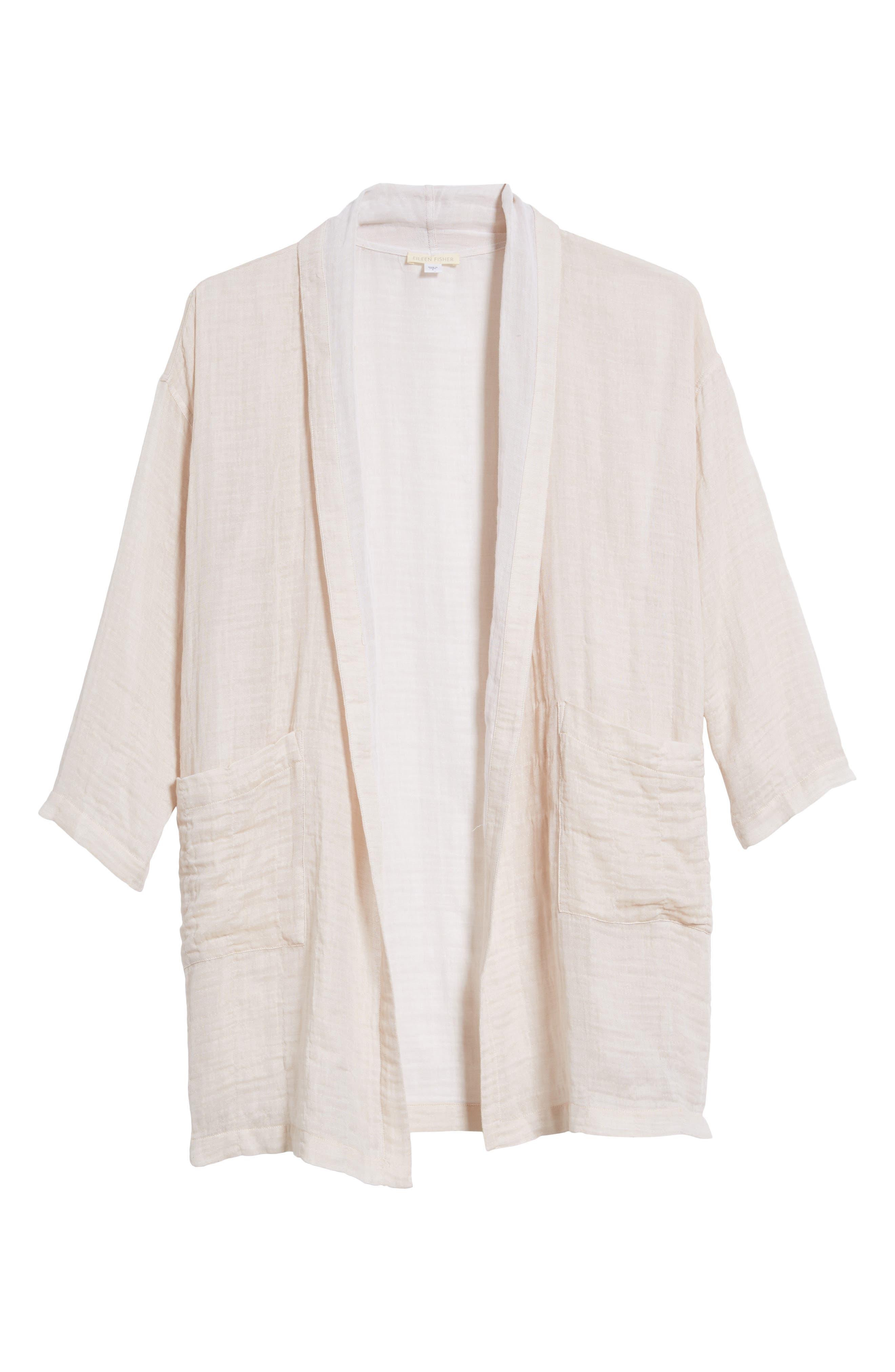 Linen Blend Kimono Jacket,                             Alternate thumbnail 7, color,                             Natural