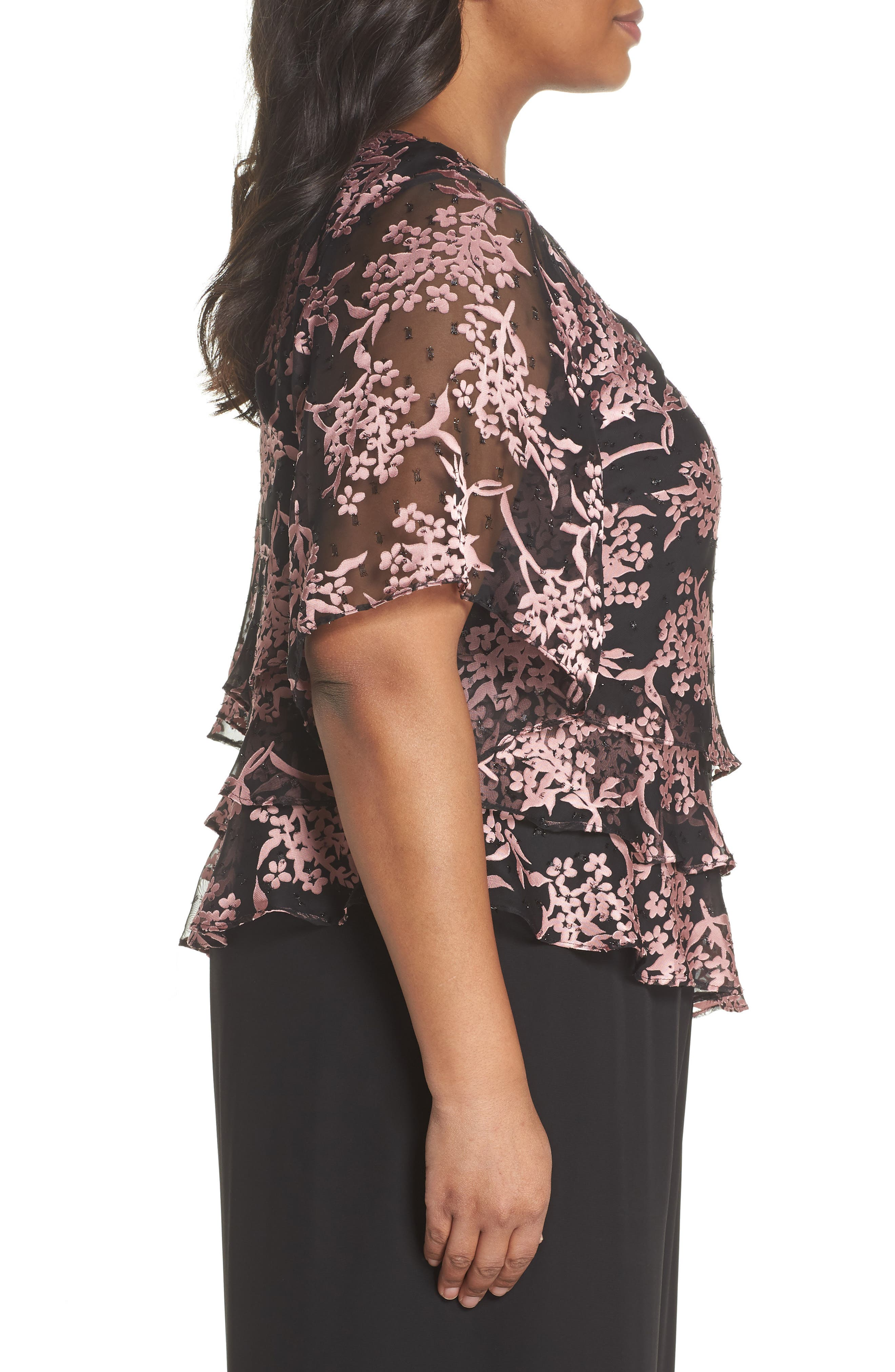 Embroidered Asymmetrical Top,                             Alternate thumbnail 3, color,                             Black/ Coral