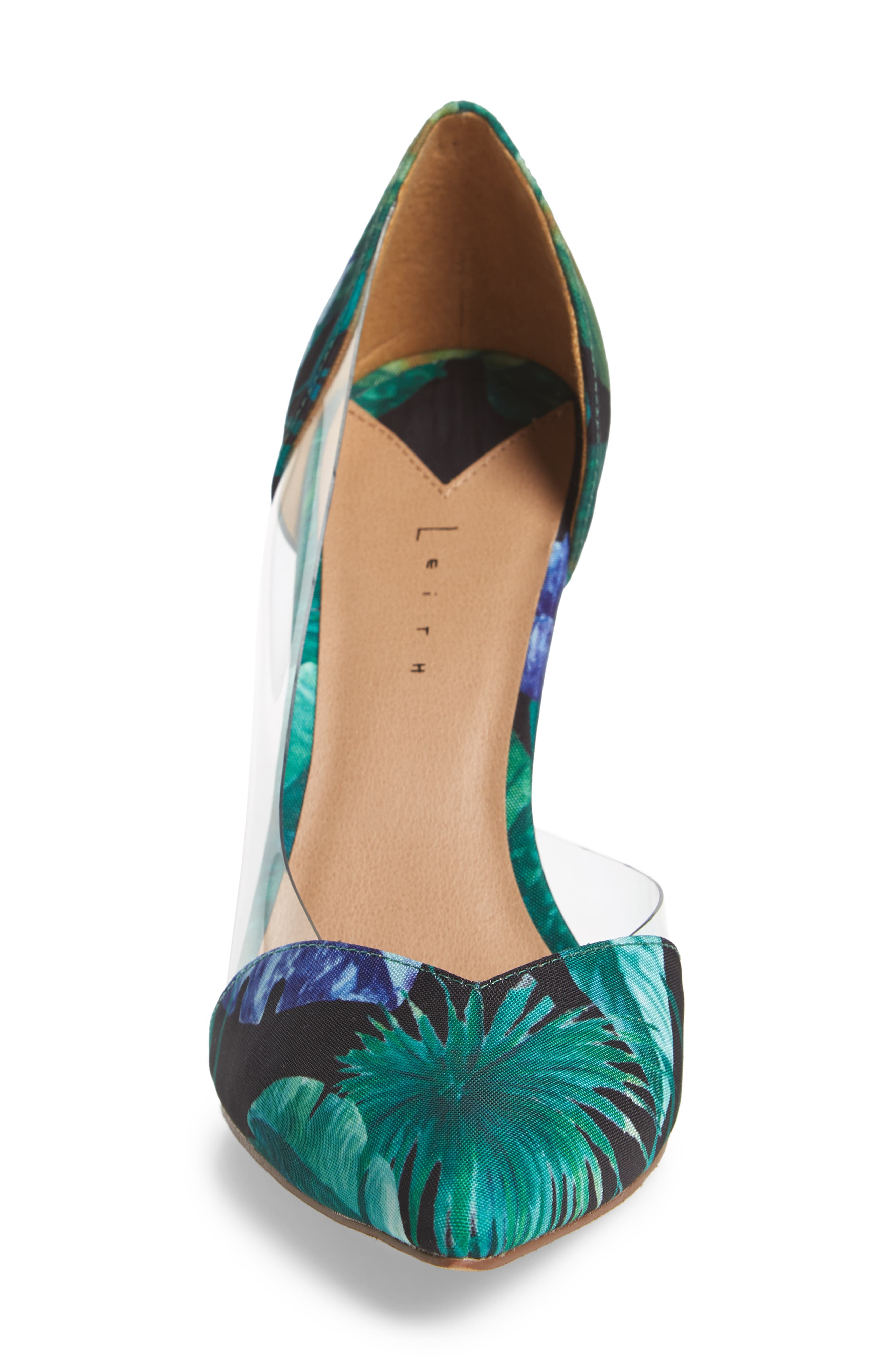 Parker Clear d'Orsay Pump,                             Alternate thumbnail 4, color,                             Green Multi Fabric Print