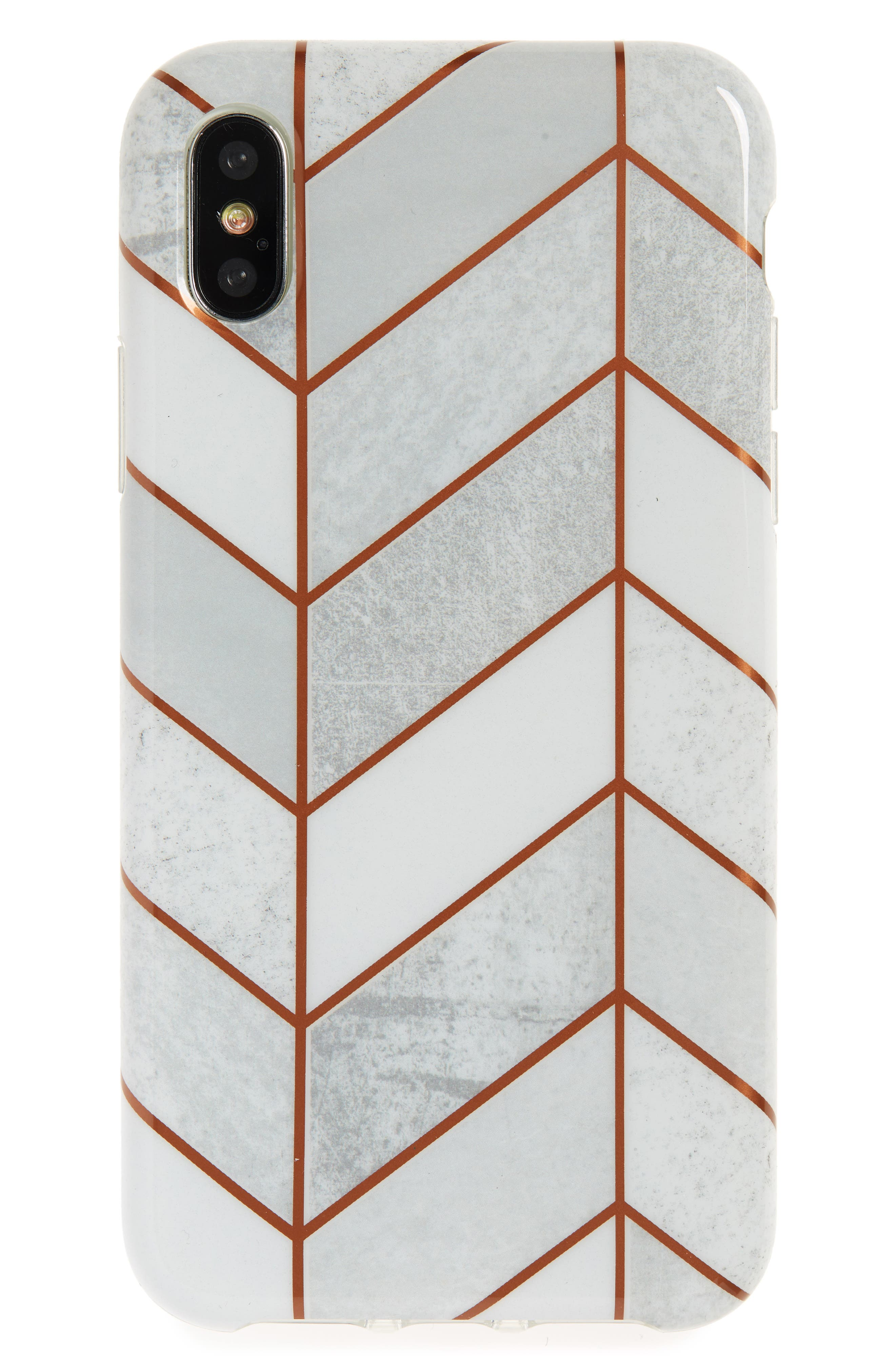 Tiled iPhone X Case,                         Main,                         color, White Quartz/ Red