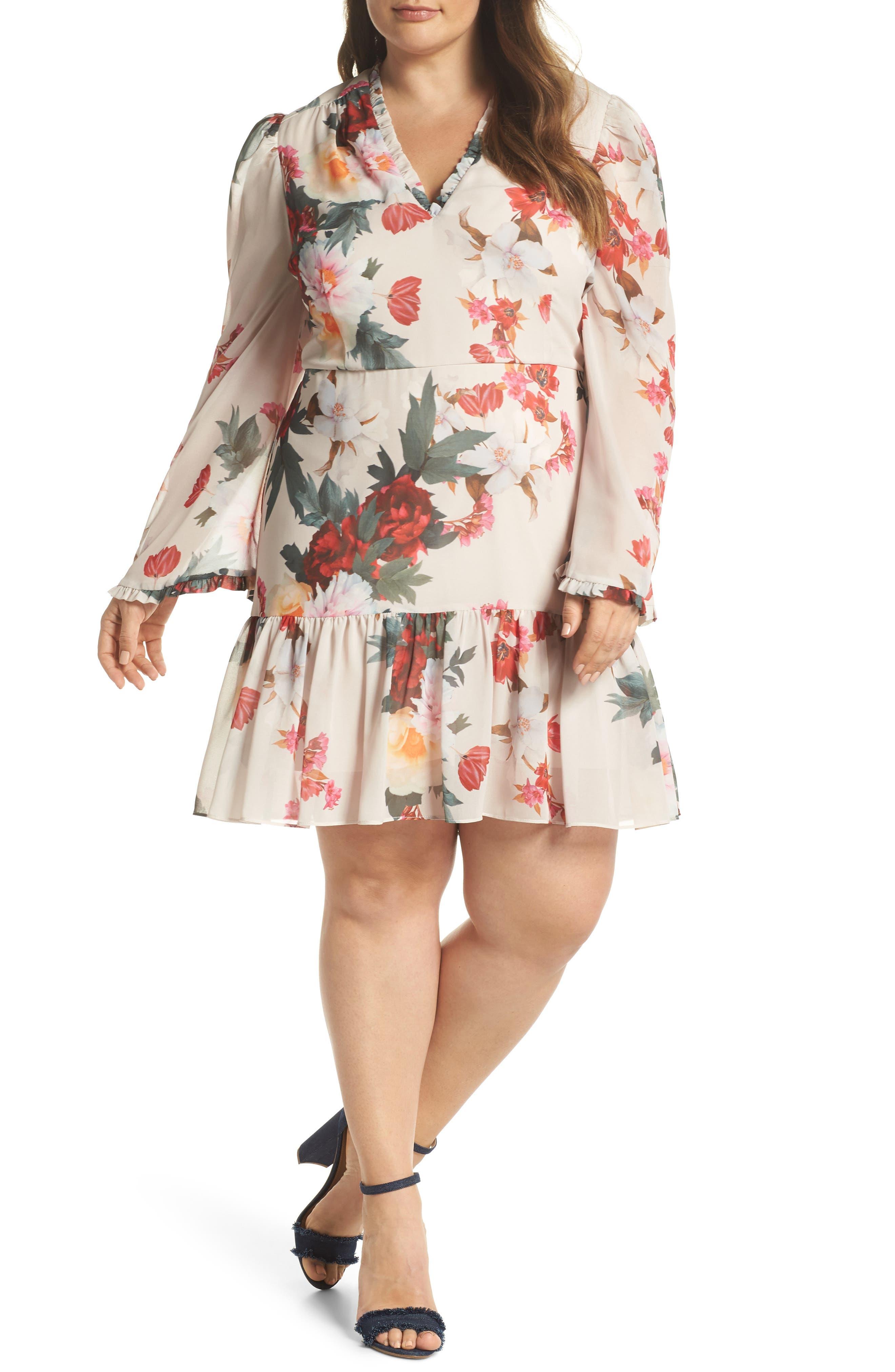 Cooper St Rosa Floral Chiffon Minidress (Plus Size)