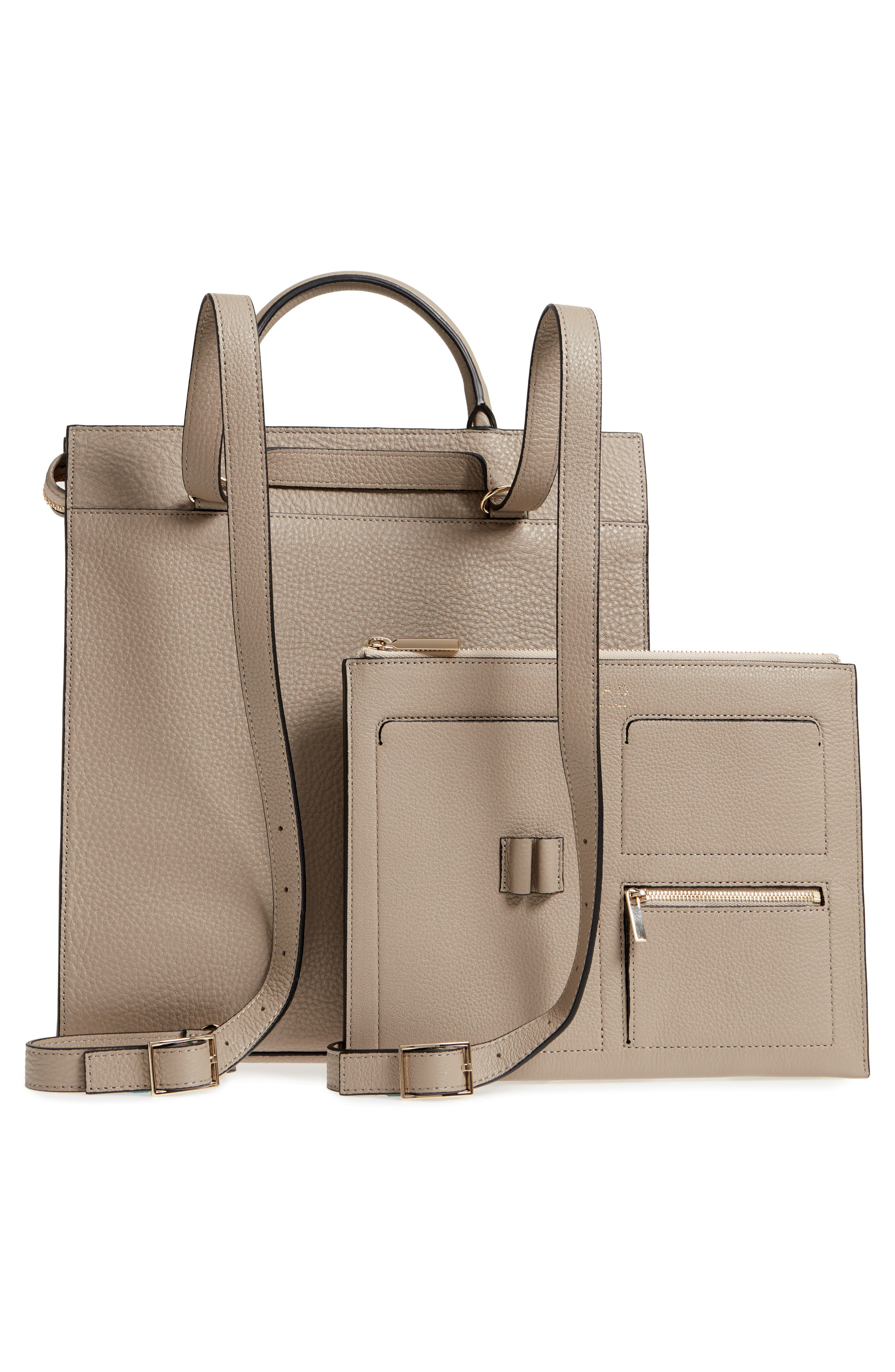Arc Leather Backpack,                             Alternate thumbnail 3, color,                             Taupe