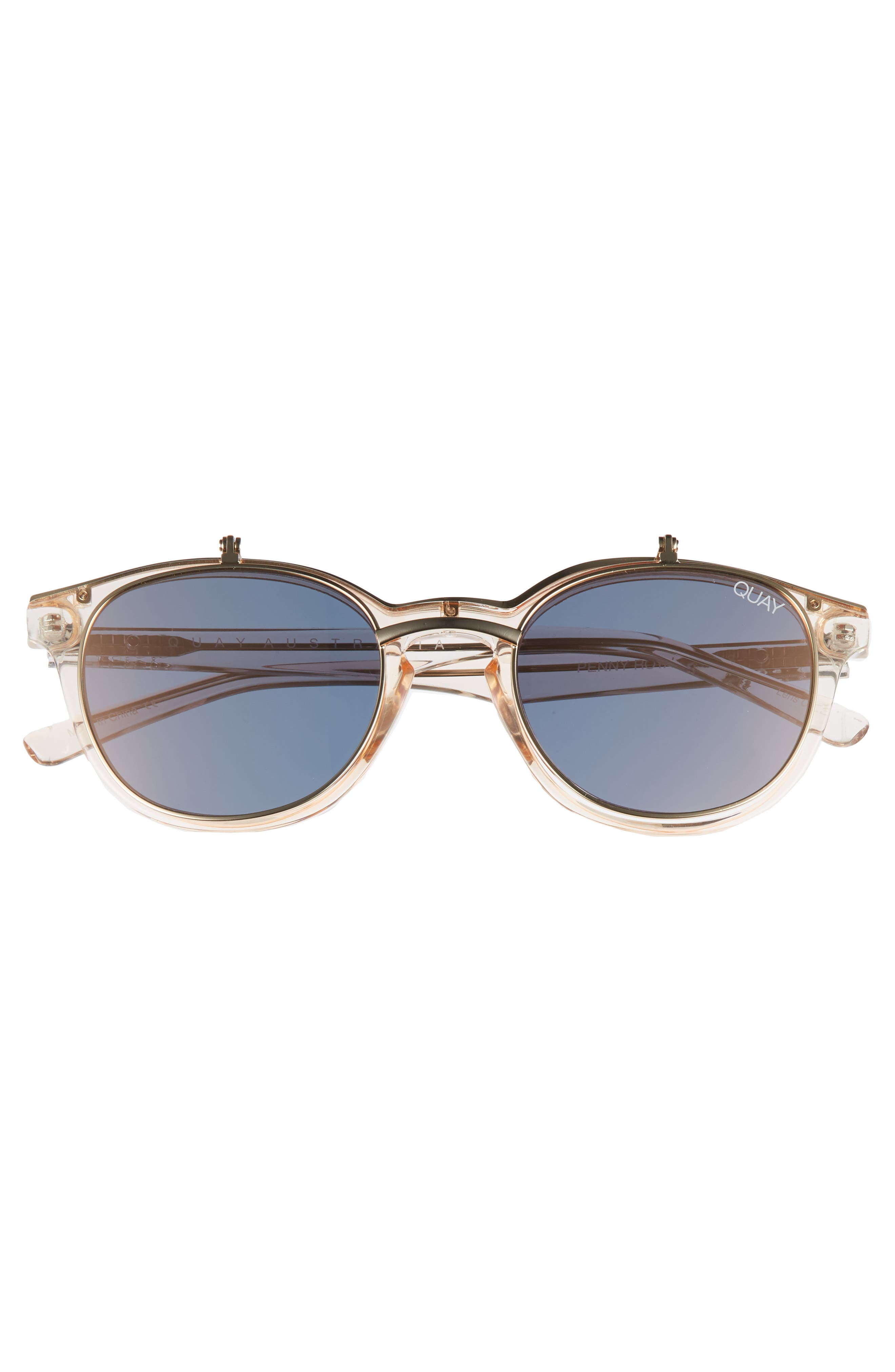 Penny Royal 55mm Flip-Up Round Sunglasses,                             Alternate thumbnail 3, color,                             Champagne/ Gold