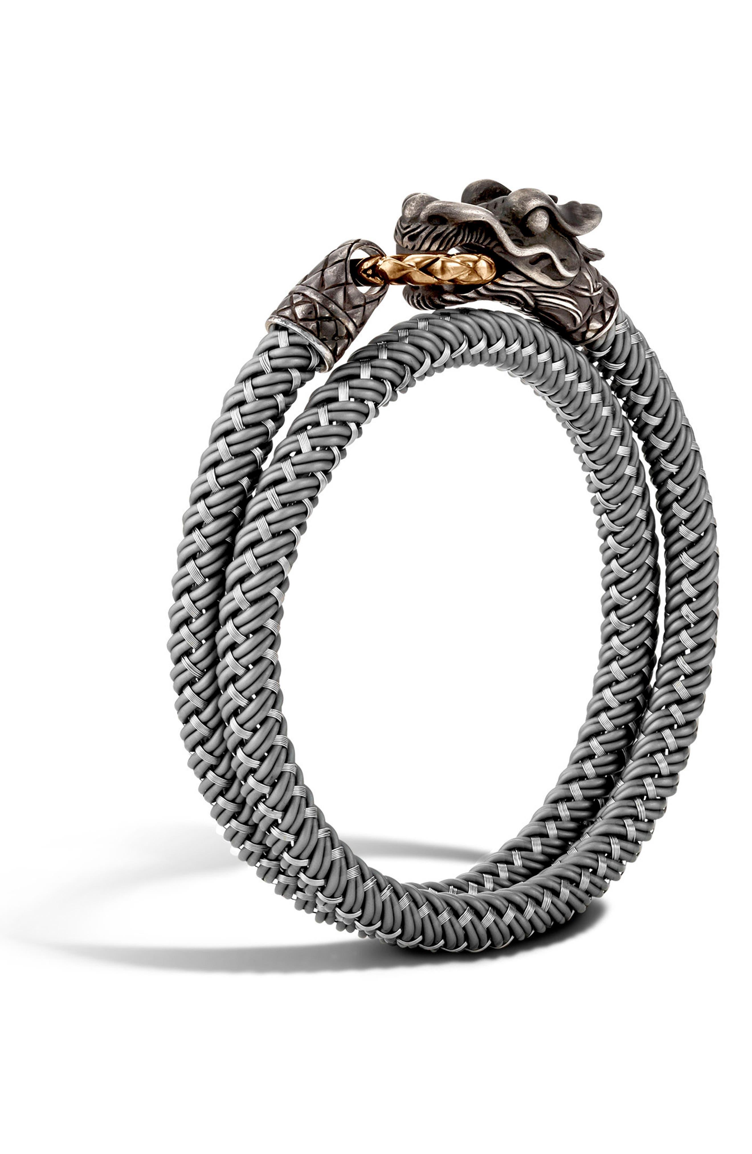 Legends Naga Double Wrap Bracelet,                             Main thumbnail 1, color,                             Silver/ Grey