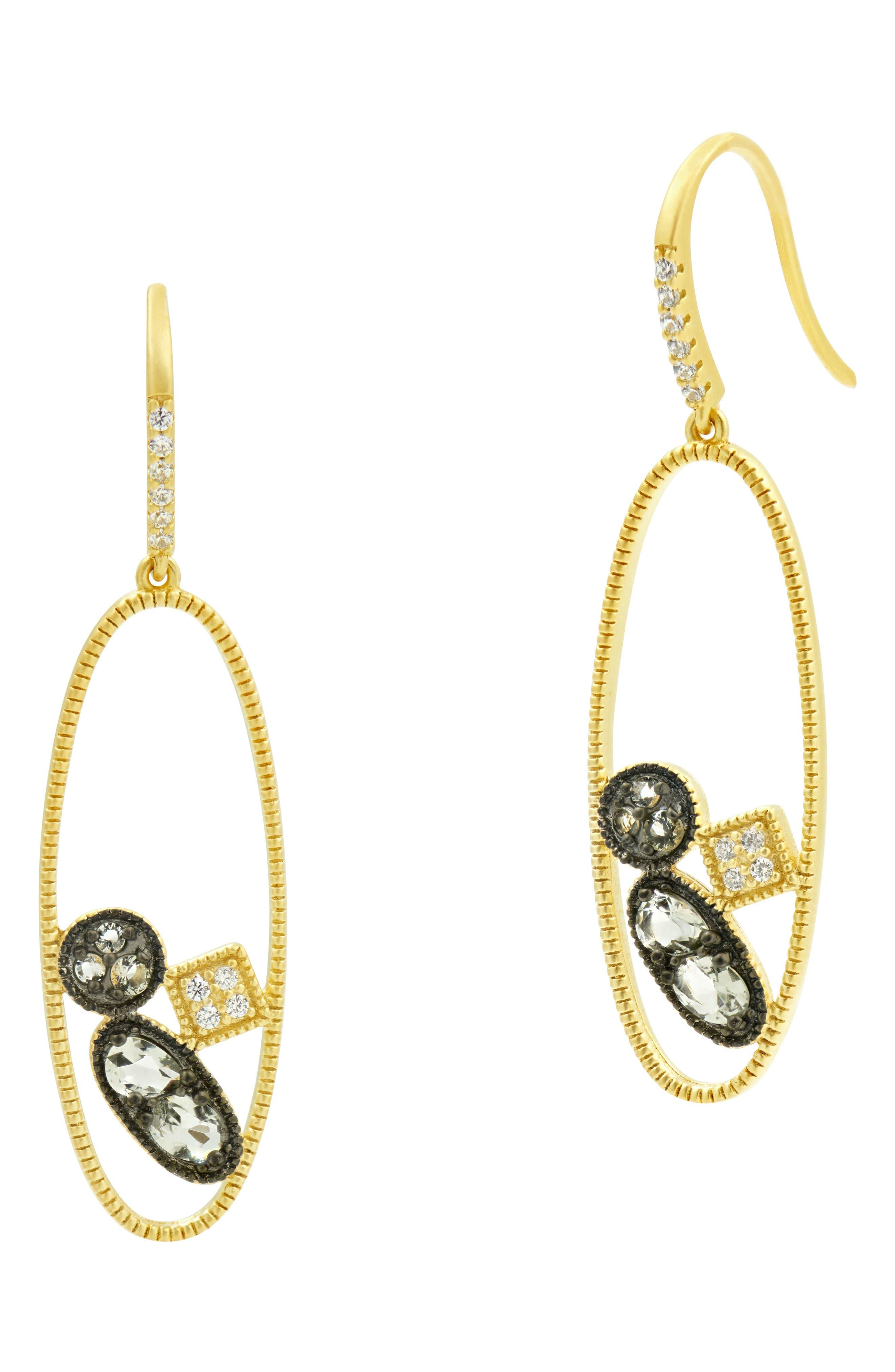 Rose Dor Open Drop Earrings,                         Main,                         color, Black Rhodium/ Gold