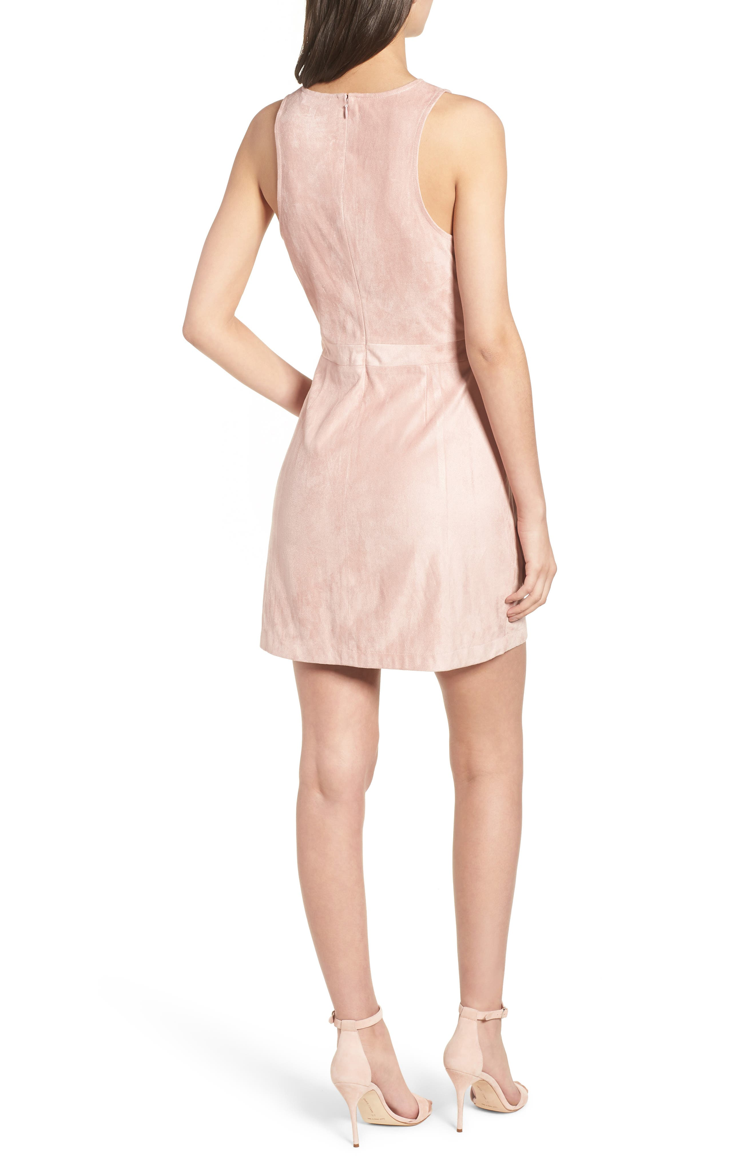 Daton Faux Suede Dress,                             Alternate thumbnail 2, color,                             Nude Pink