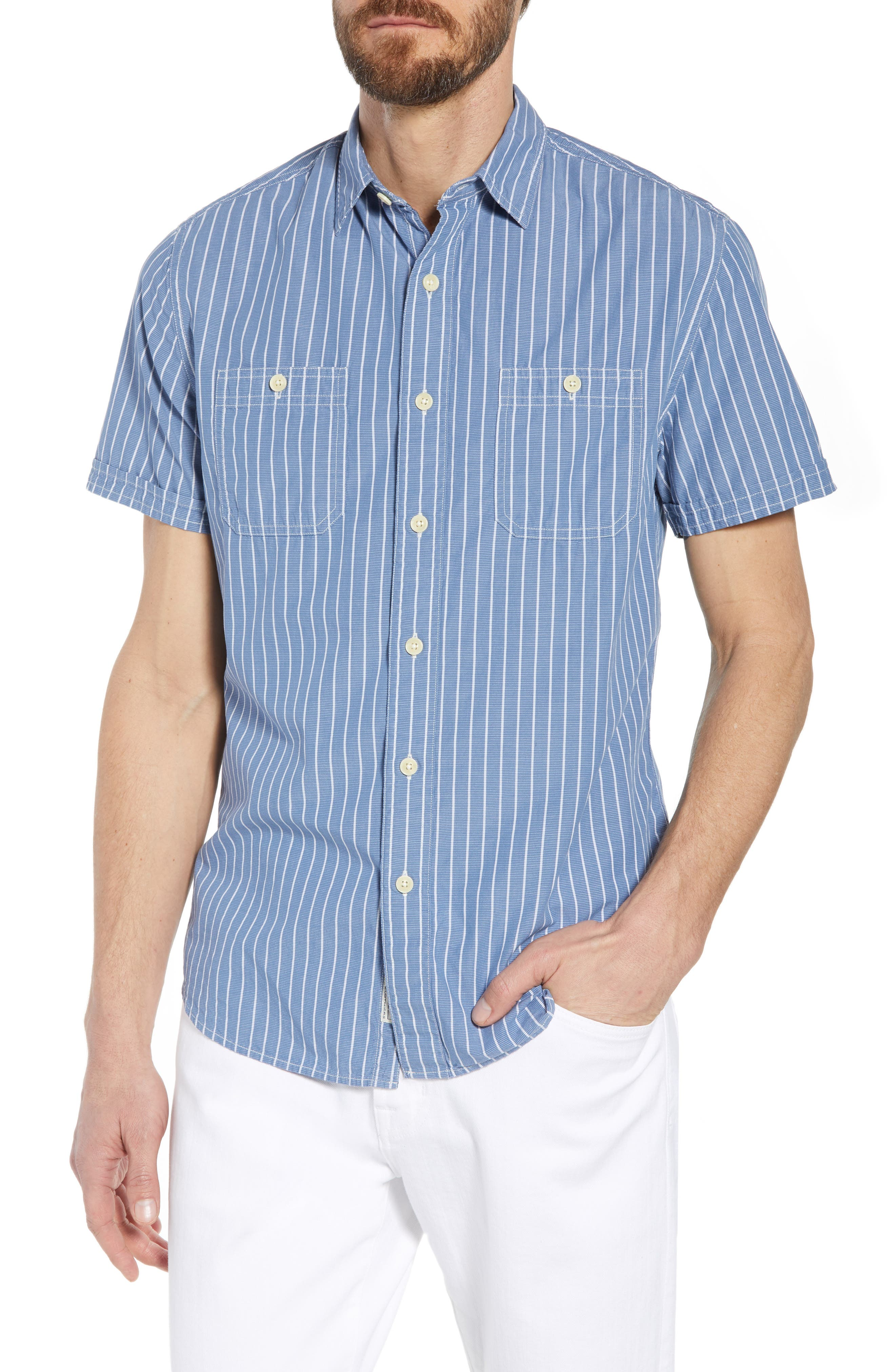 Larkin Stripe Sport Shirt,                         Main,                         color, Blue Cream Stripe
