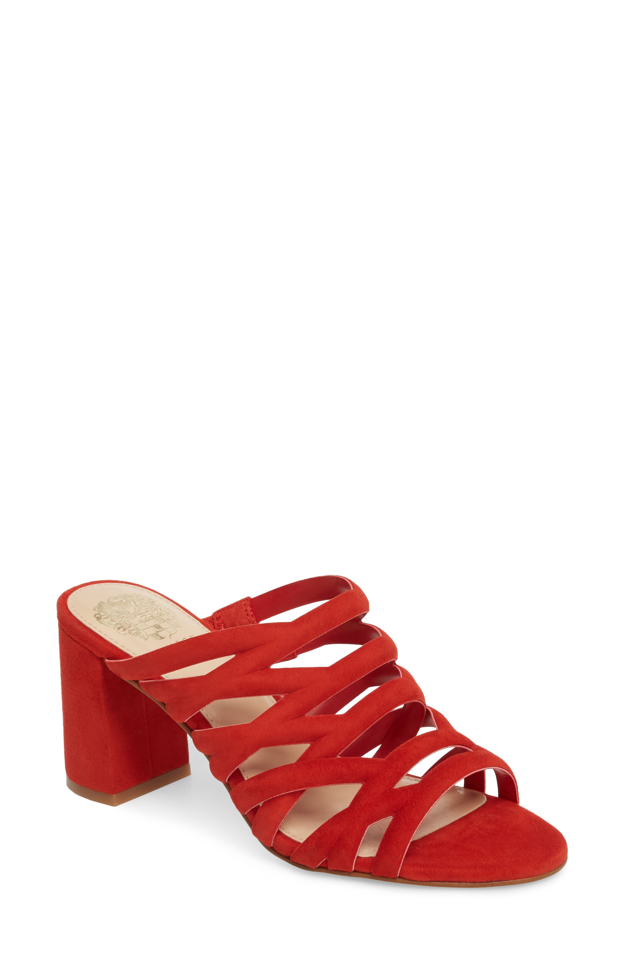 Raveana Cage Mule,                             Main thumbnail 1, color,                             Red Hot Rio Suede