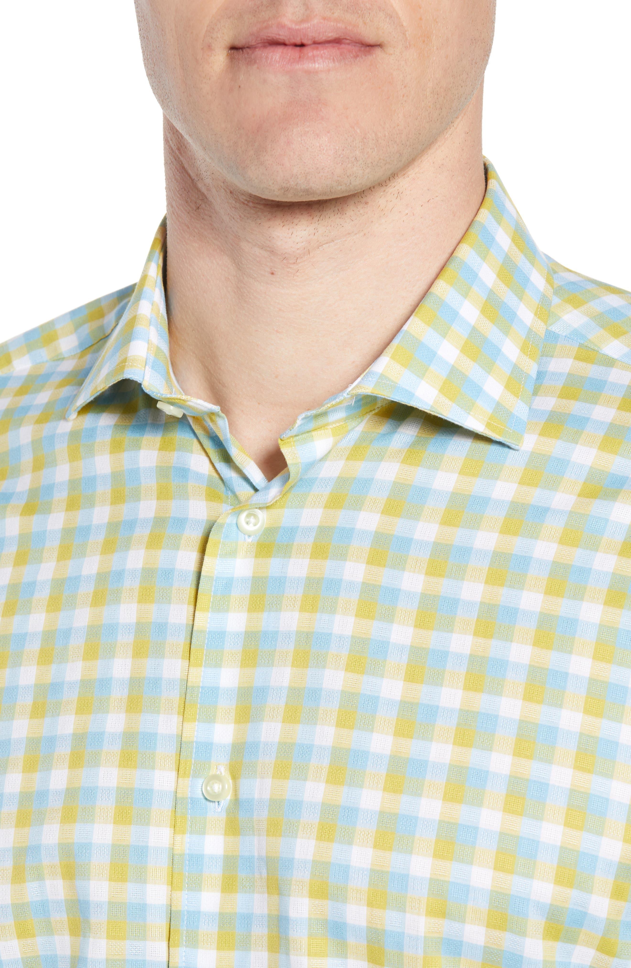 Regular Fit Check Sport Shirt,                             Alternate thumbnail 4, color,                             Yellow