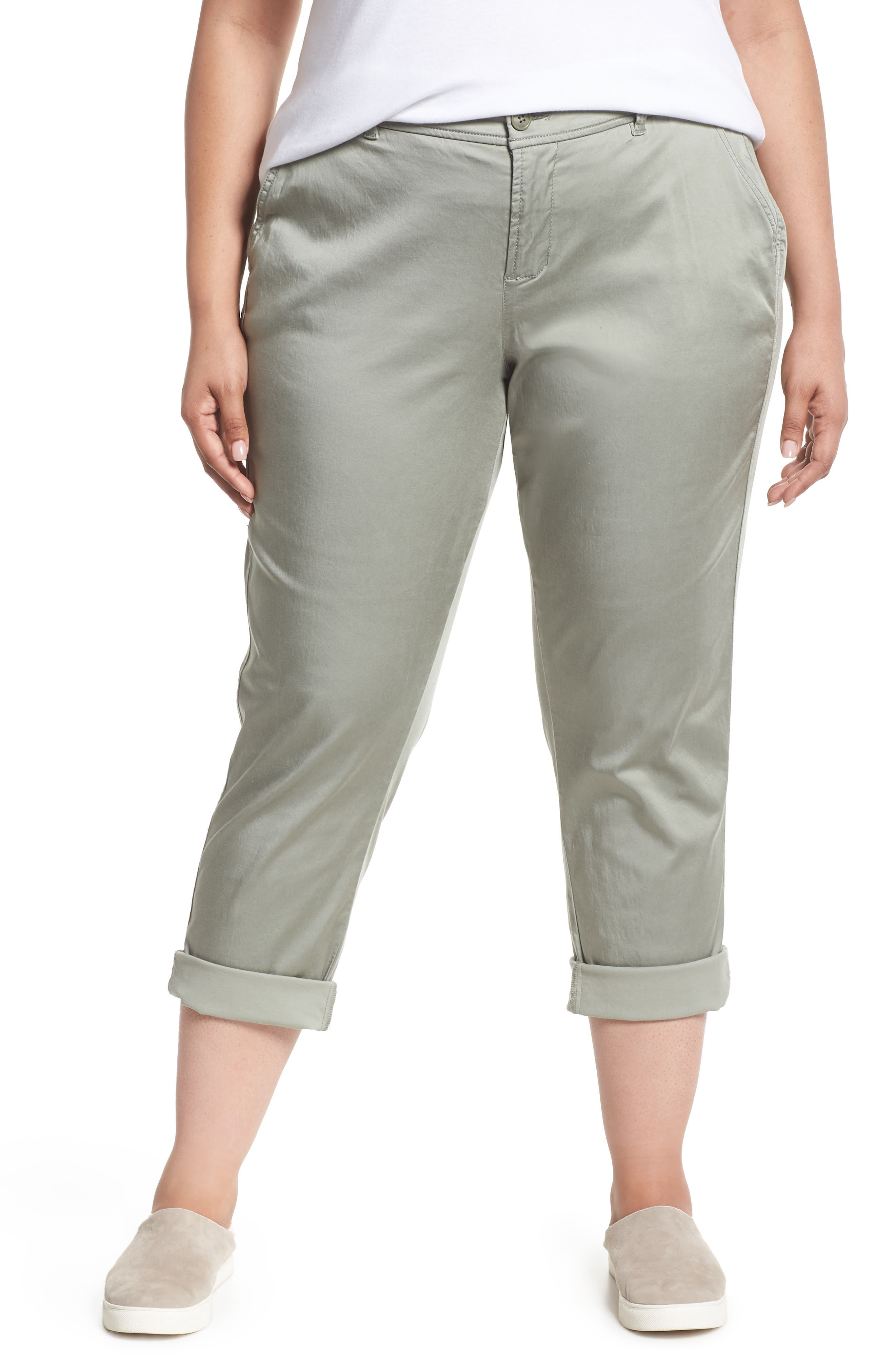 Stretch Cotton Blend Pants,                         Main,                         color, Faded Seagrass
