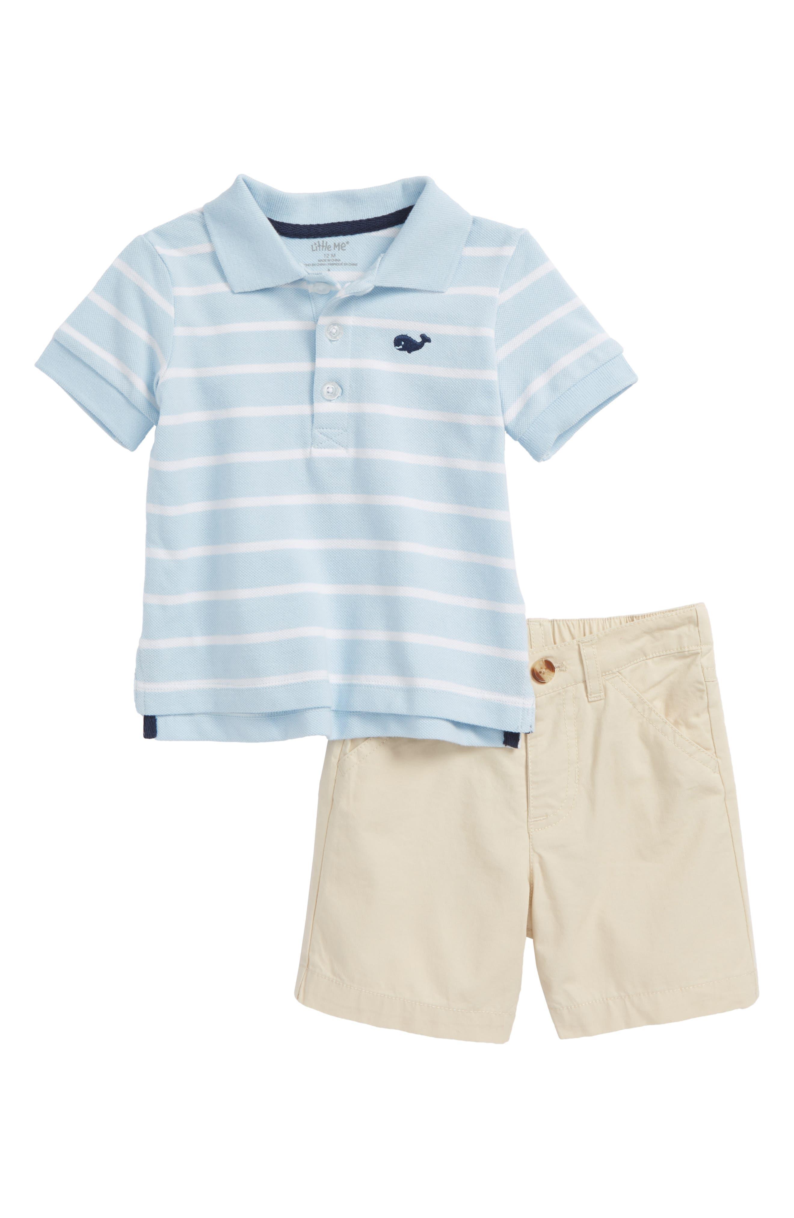 Whale Polo & Shorts Set,                             Main thumbnail 1, color,                             Tan
