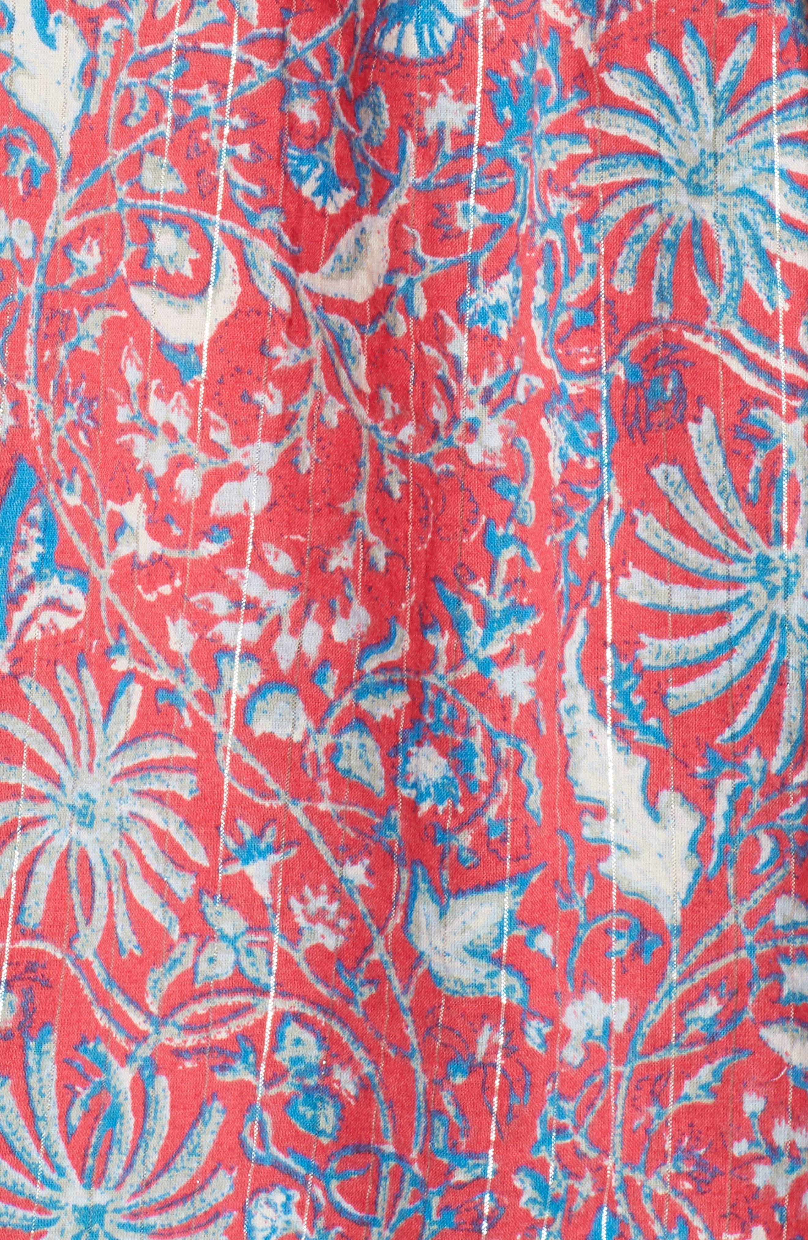 Cold Shoulder Print Top,                             Alternate thumbnail 6, color,                             Red Multi