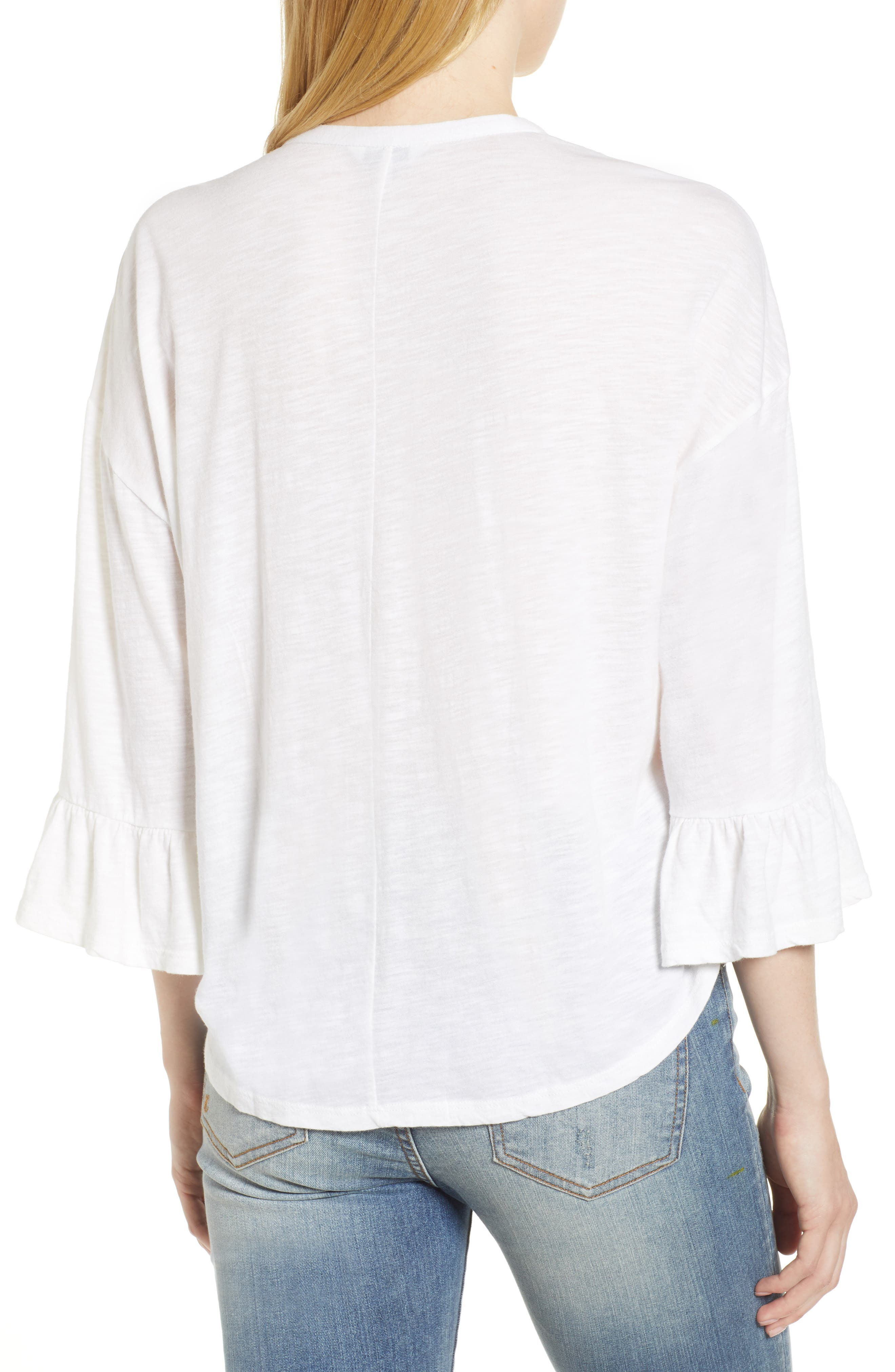 Pintuck Peasant Top,                             Alternate thumbnail 2, color,                             Lucky White