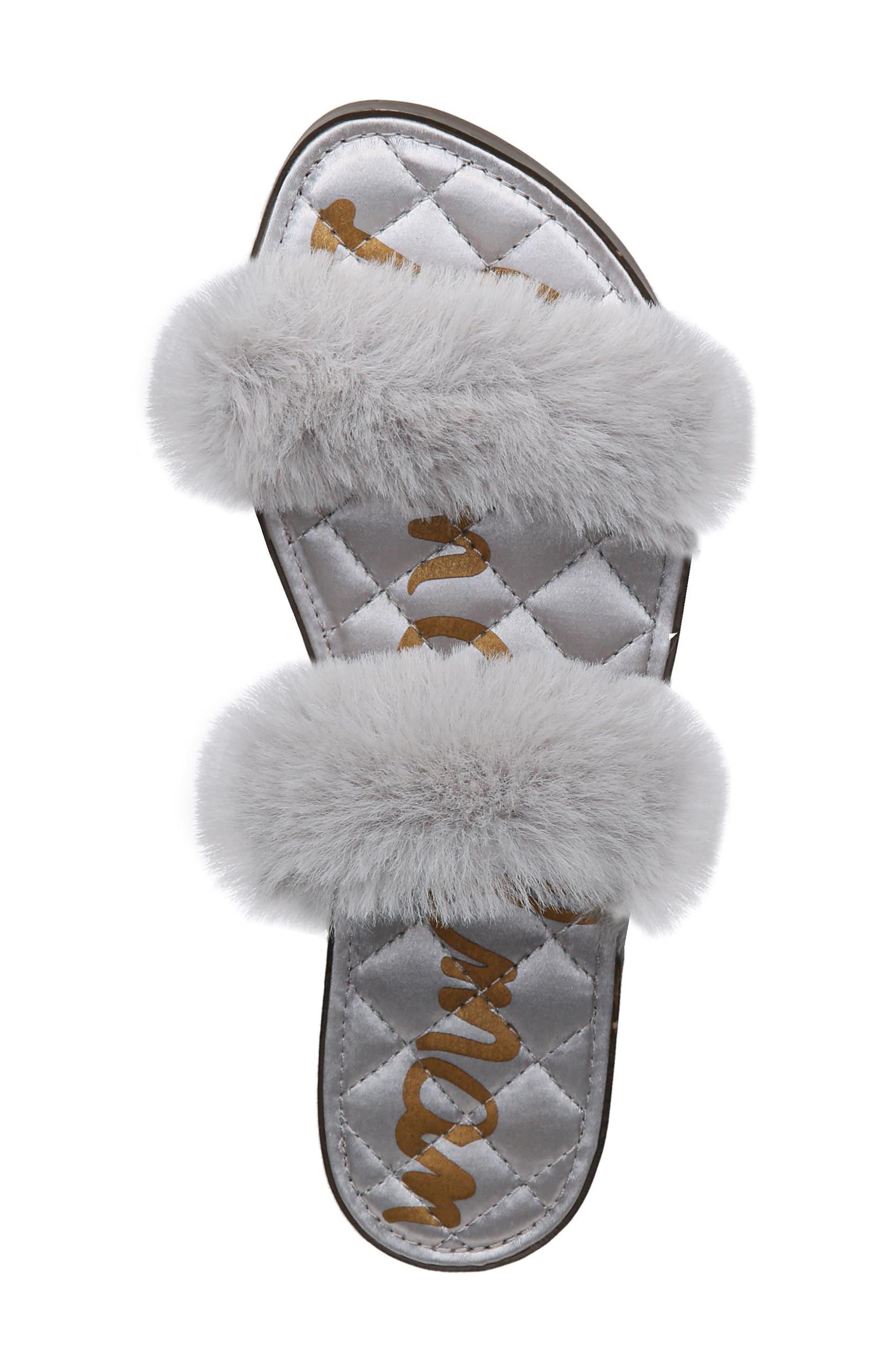 Griselda Faux Fur Slide Sandal,                             Alternate thumbnail 5, color,                             Light Grey Faux Fur